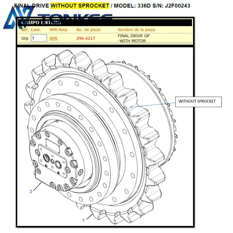 296-6217 Travel motor assy Final Drive without sprocket for CAT EXCAVATOR 336D E336D