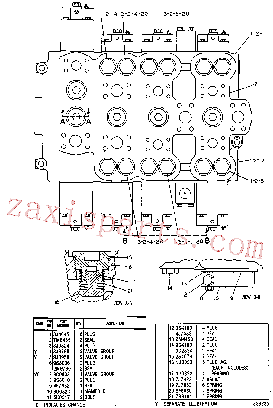 CAT 8J-5947 for 235B Excavator(EXC) hydraulic system 5C-6637 Assembly