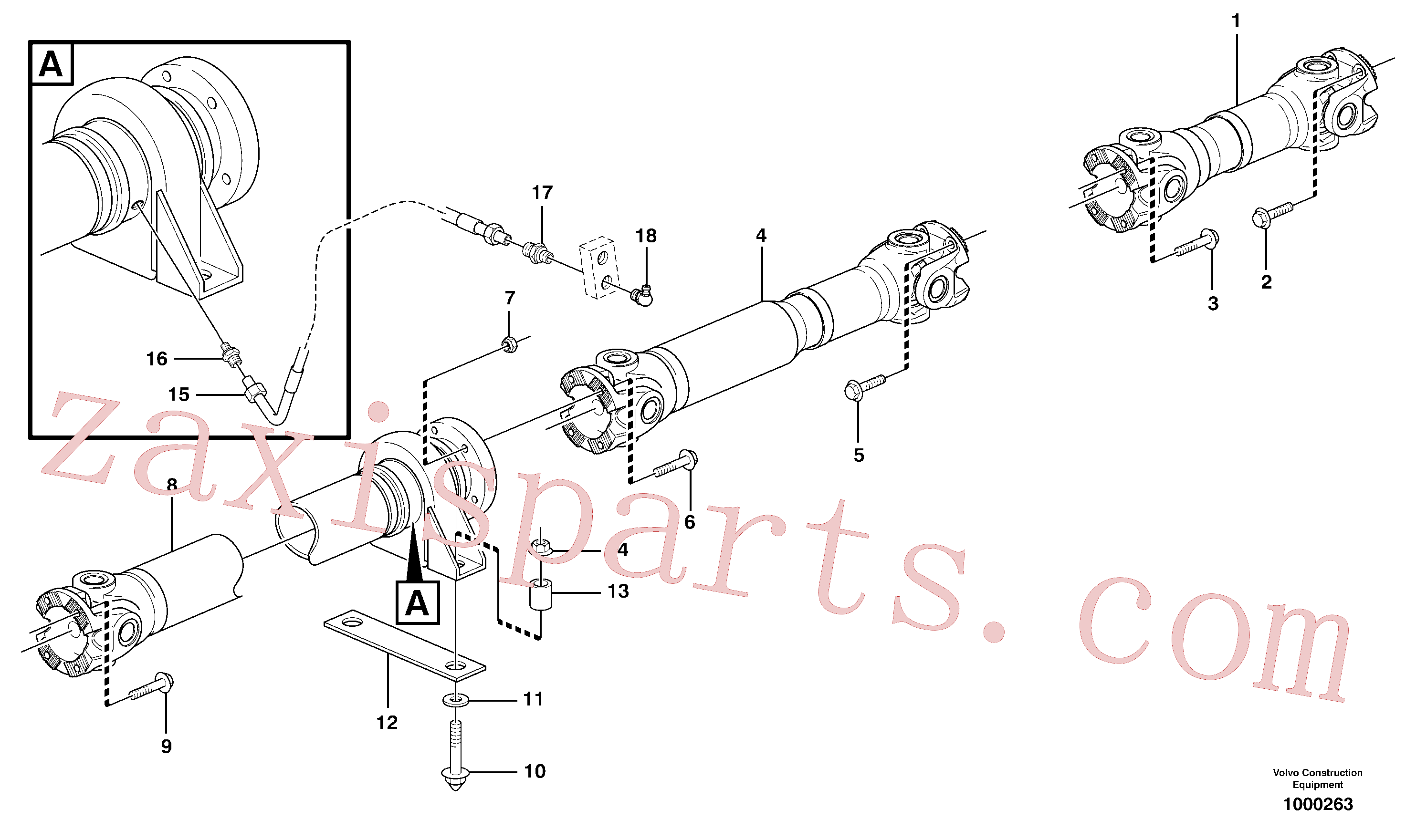 VOE13966366 for Volvo Propeller shafts with fitting parts(1000263 assembly)