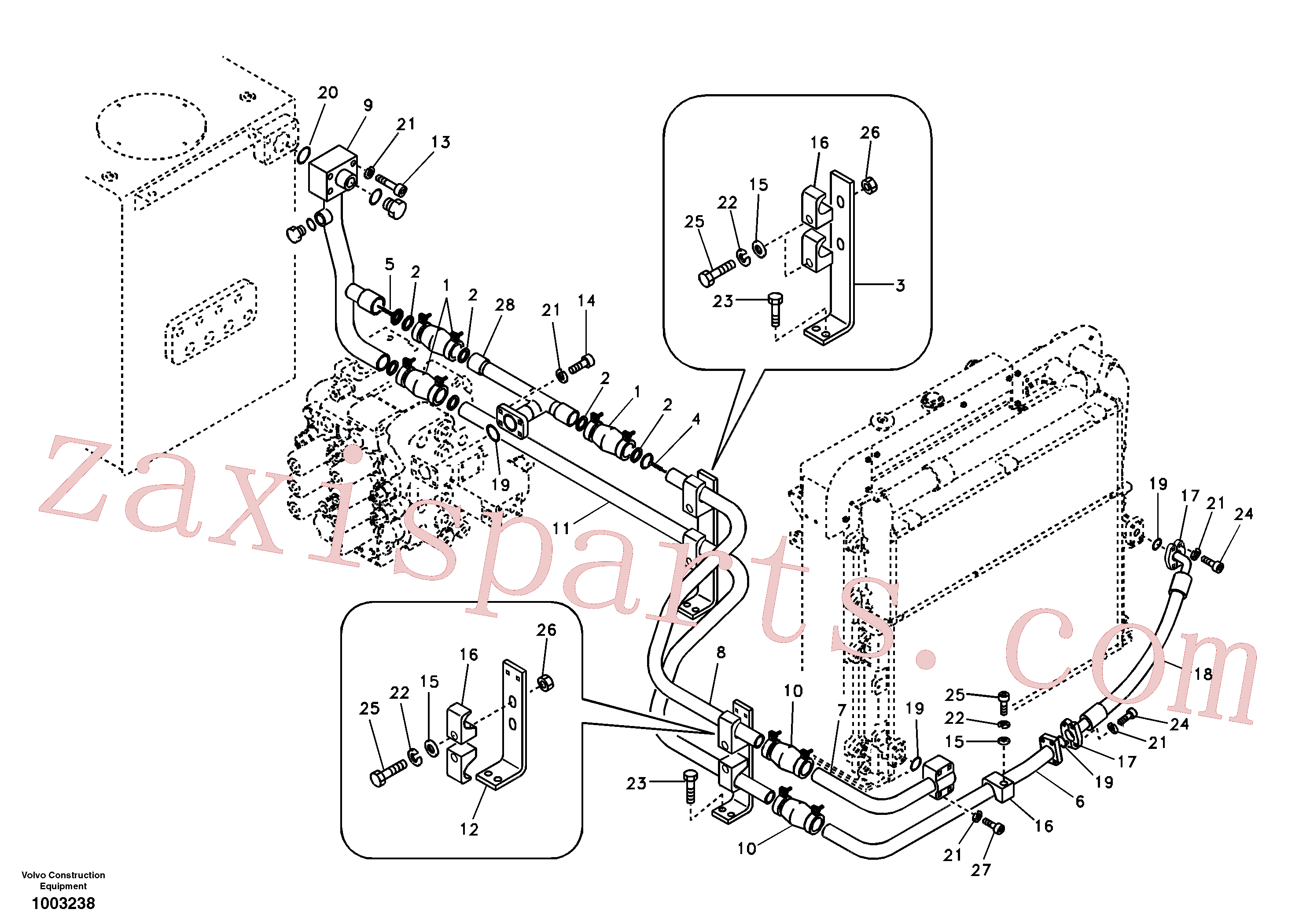 SA9459-04480 for Volvo Hydraulic system, hydraulic tank to hydraulic oil cooler(1003238 assembly)