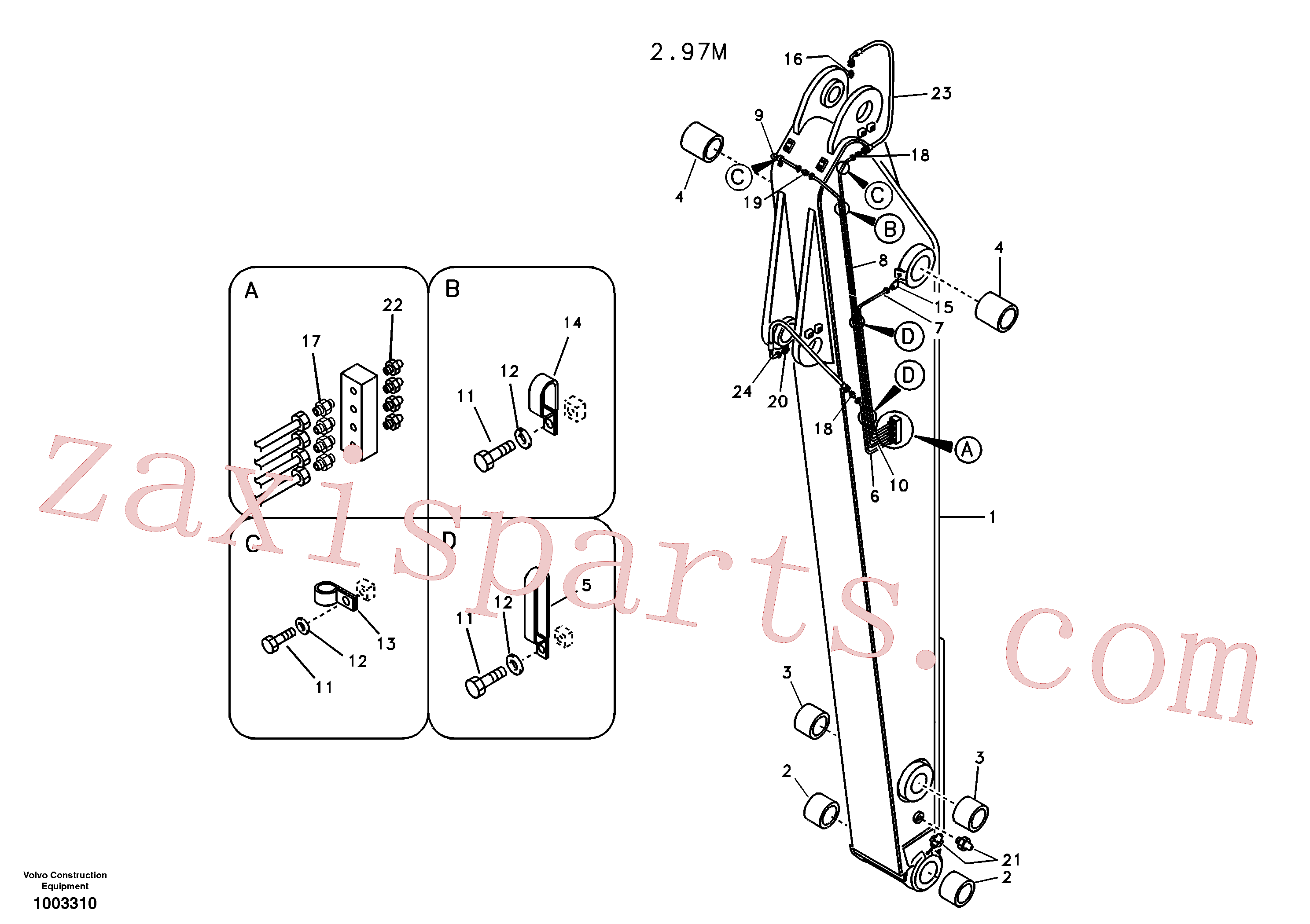 VOE14524817 for Volvo Dipper arm and grease piping with piping seat(1003310 assembly)
