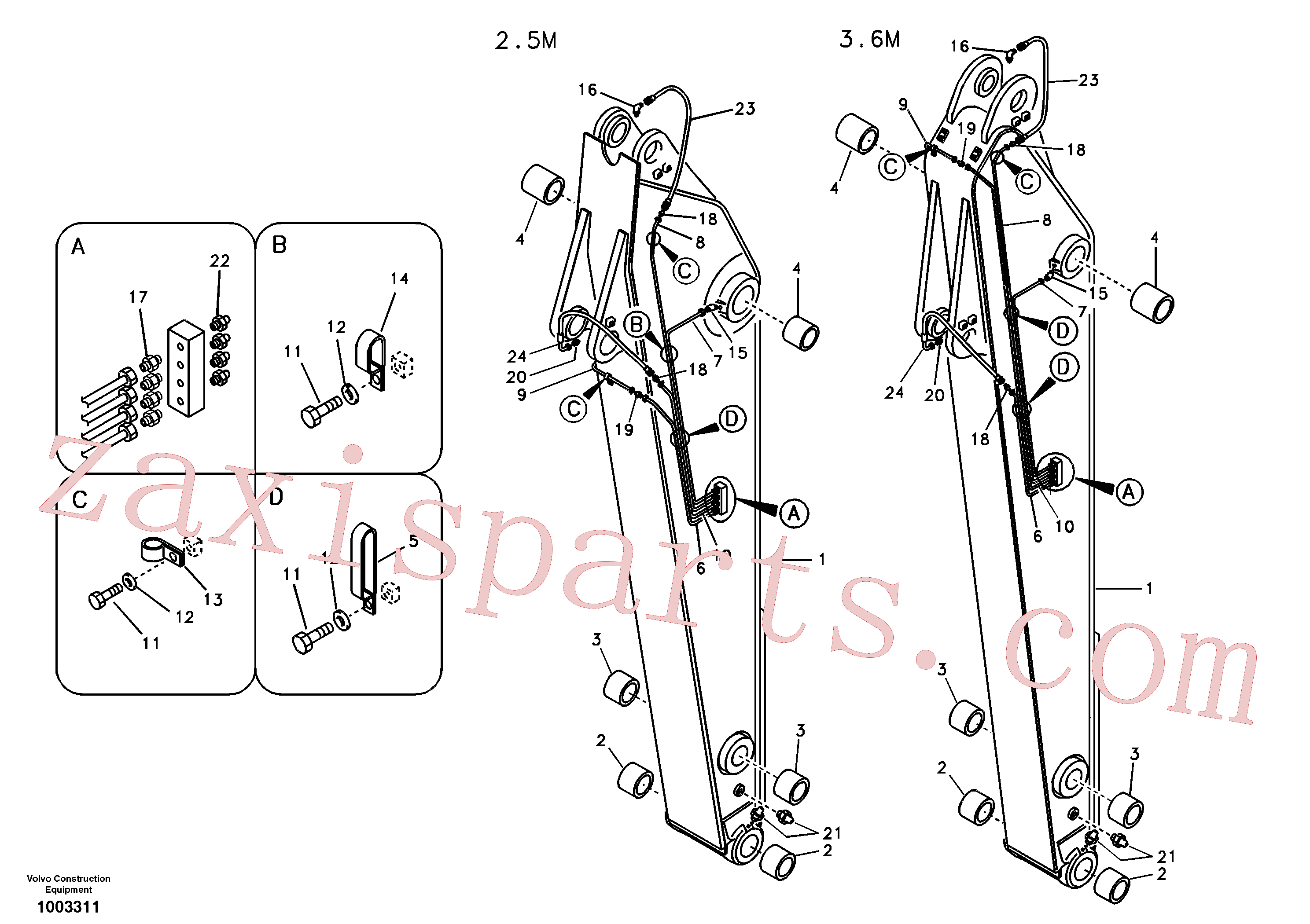 VOE14530066 for Volvo Dipper arm and grease piping with piping seat(1003311 assembly)