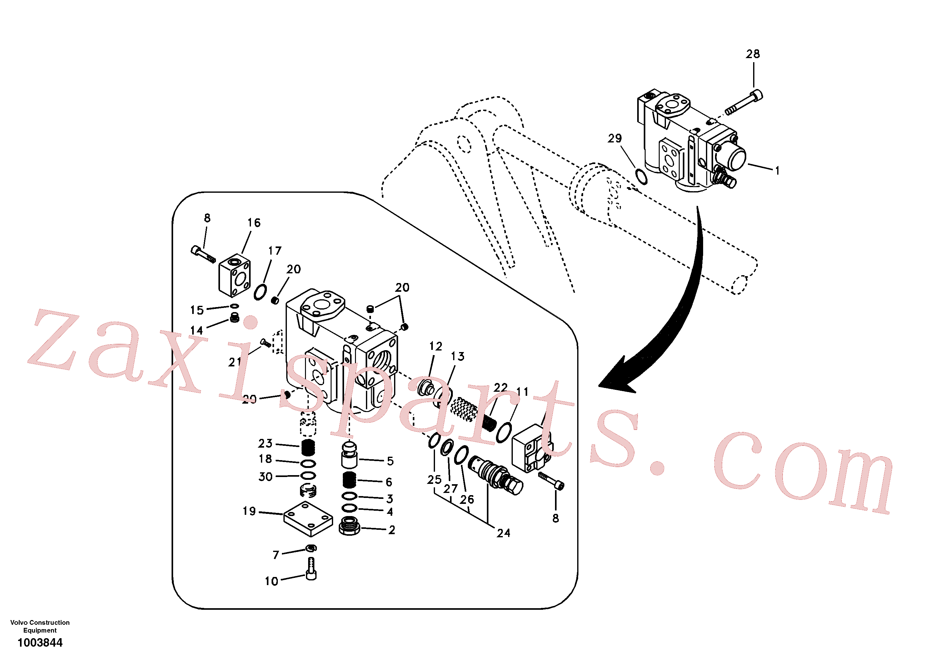 SA9016-20807 for Volvo Working hydraulic, dipper arm rupture valve mount.(1003844 assembly)