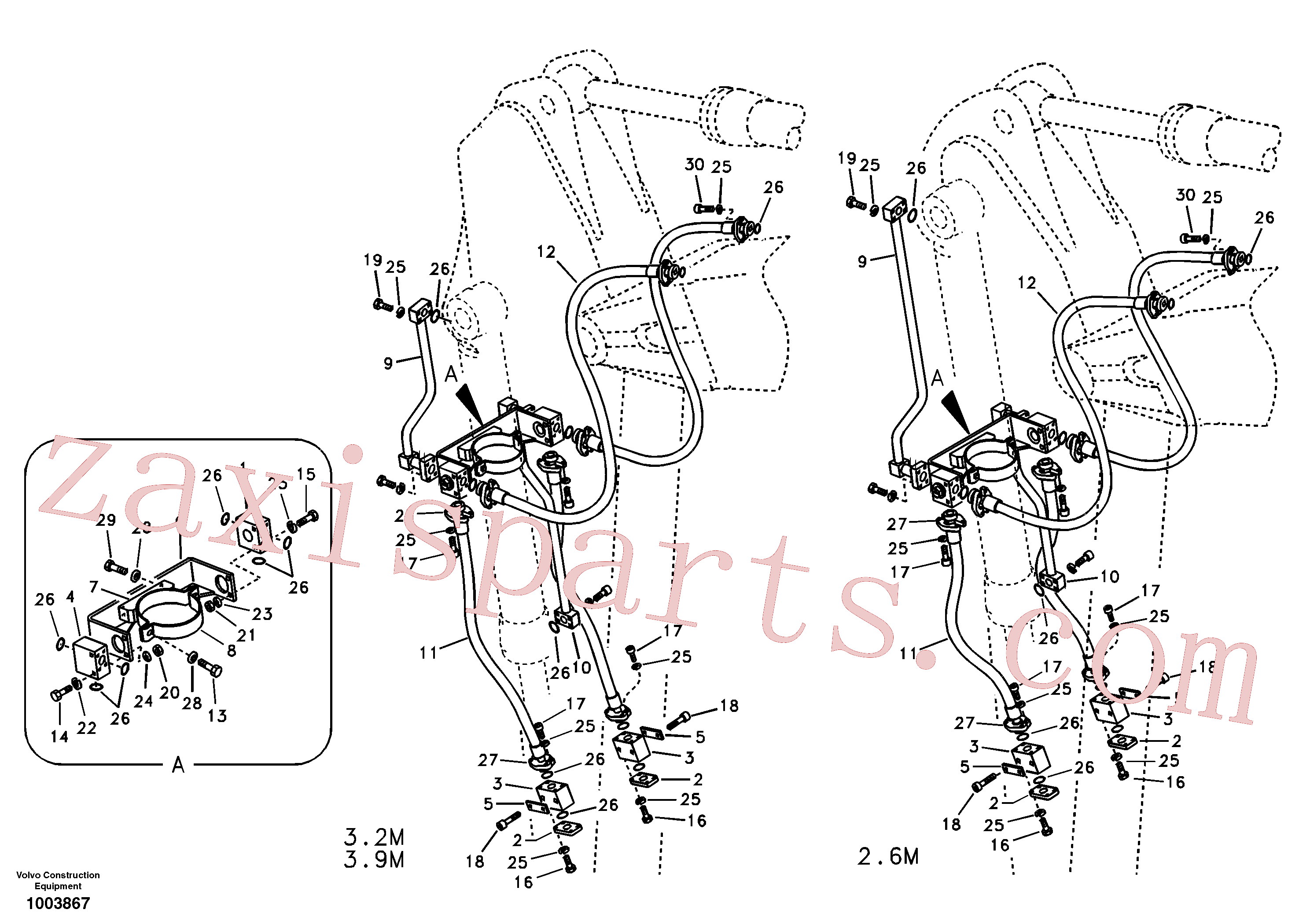 SA1174-54730 for Volvo Working hydraulic, clamshell(1003867 assembly)