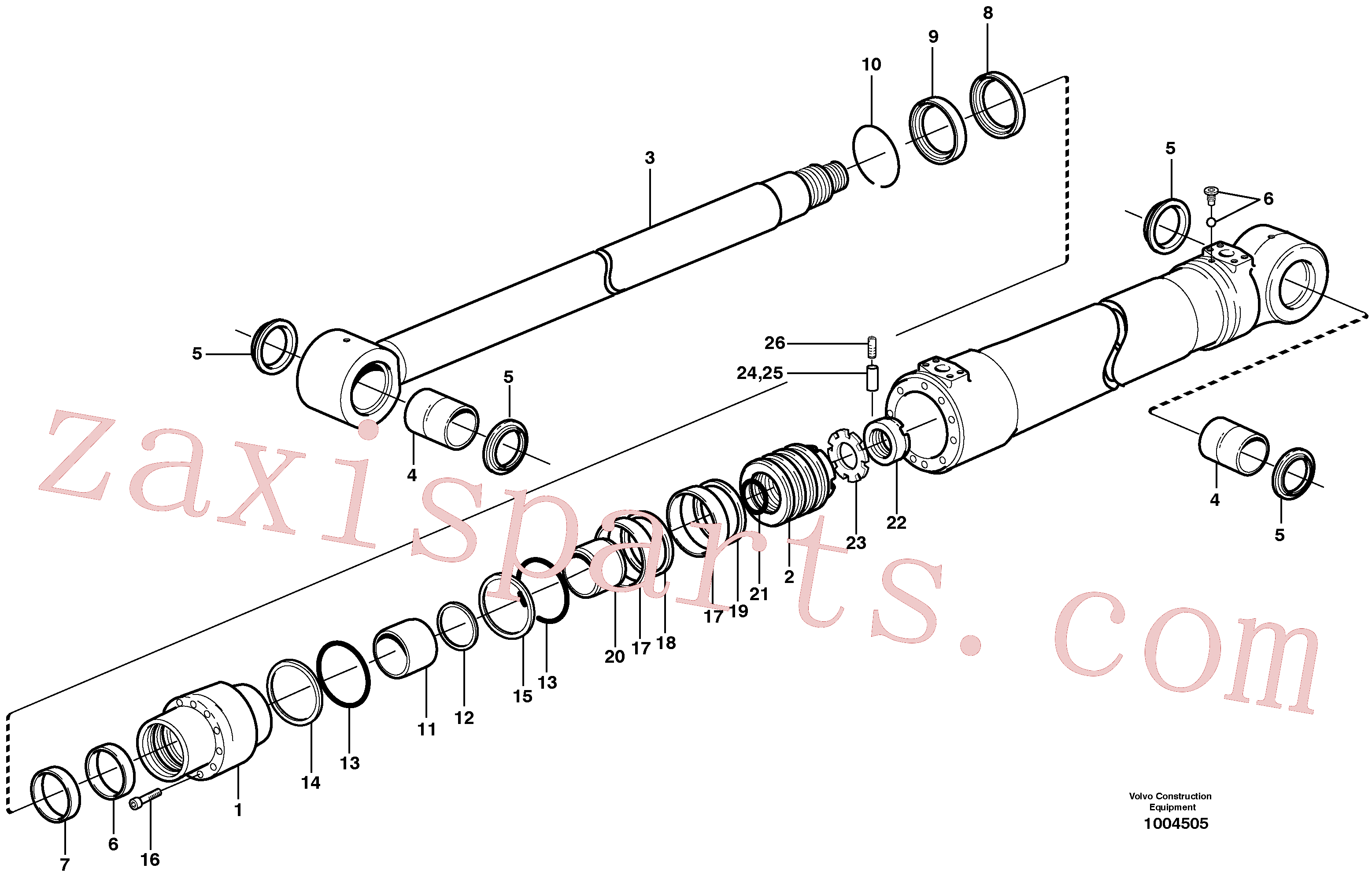 SA1146-00820 for Volvo Dipper arm cylinder(1004505 assembly)