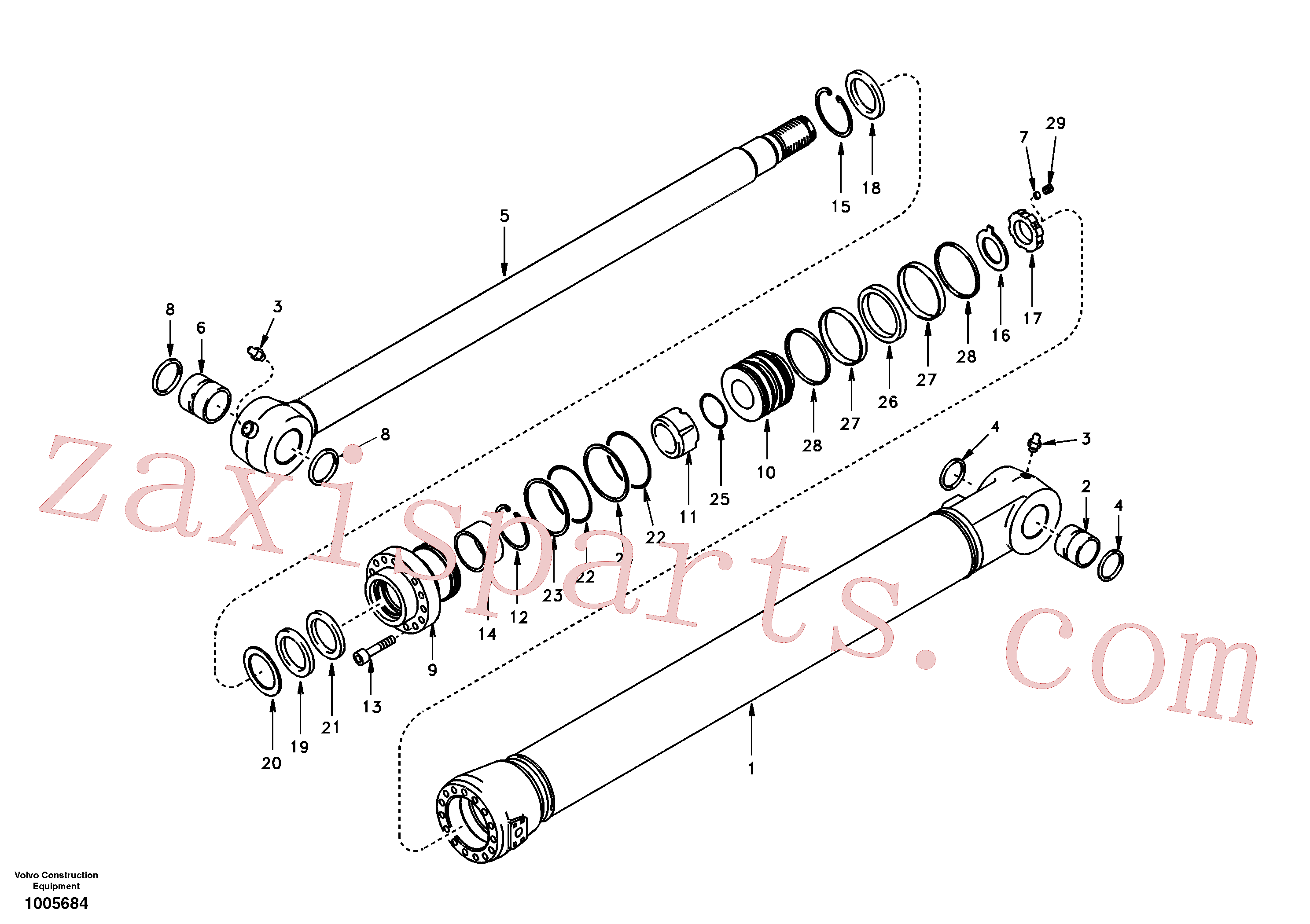 SA1146-08430 for Volvo Bucket cylinder, super long boom(1005684 assembly)
