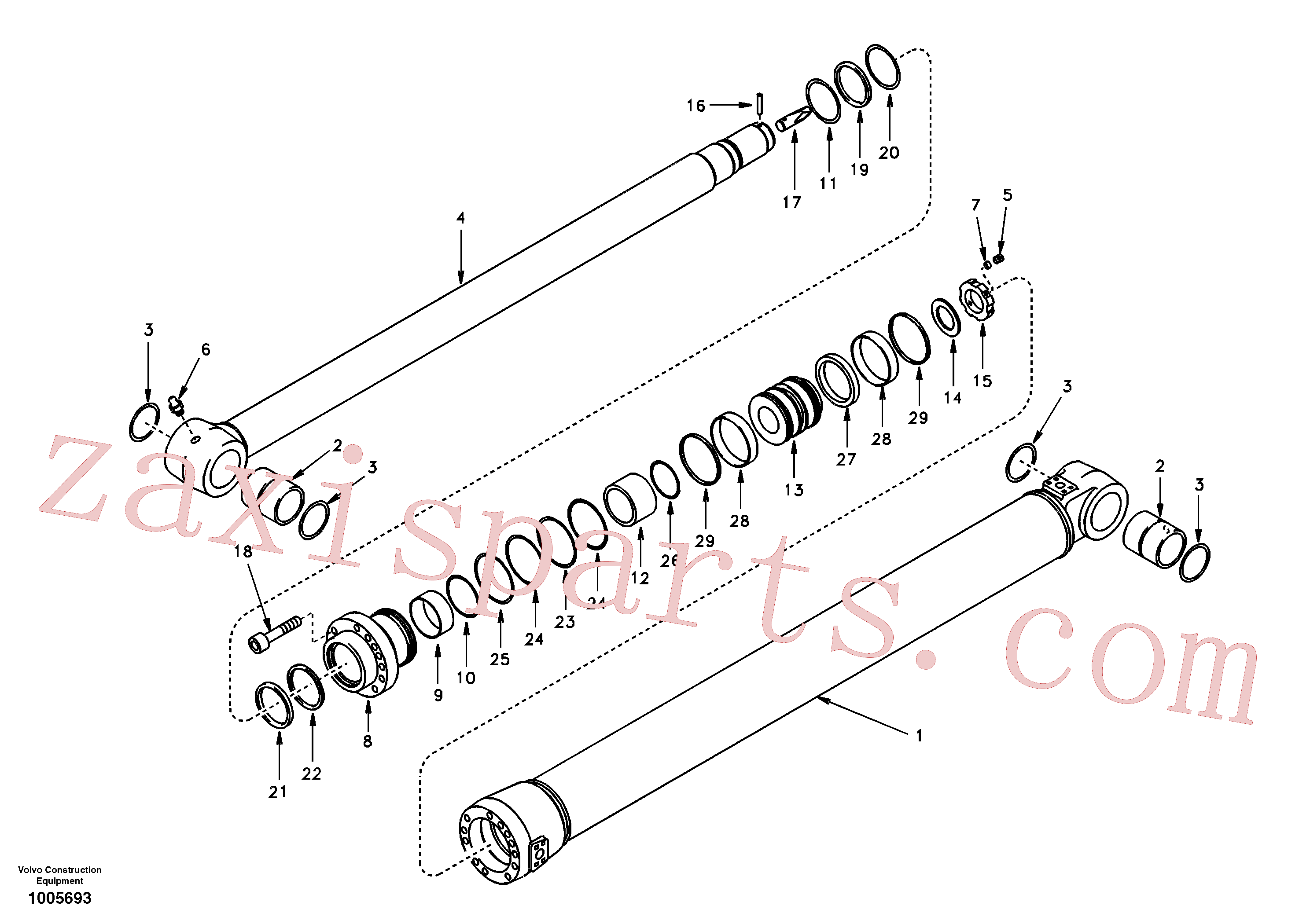 VOE14501180 for Volvo Dipper arm cylinder(1005693 assembly)