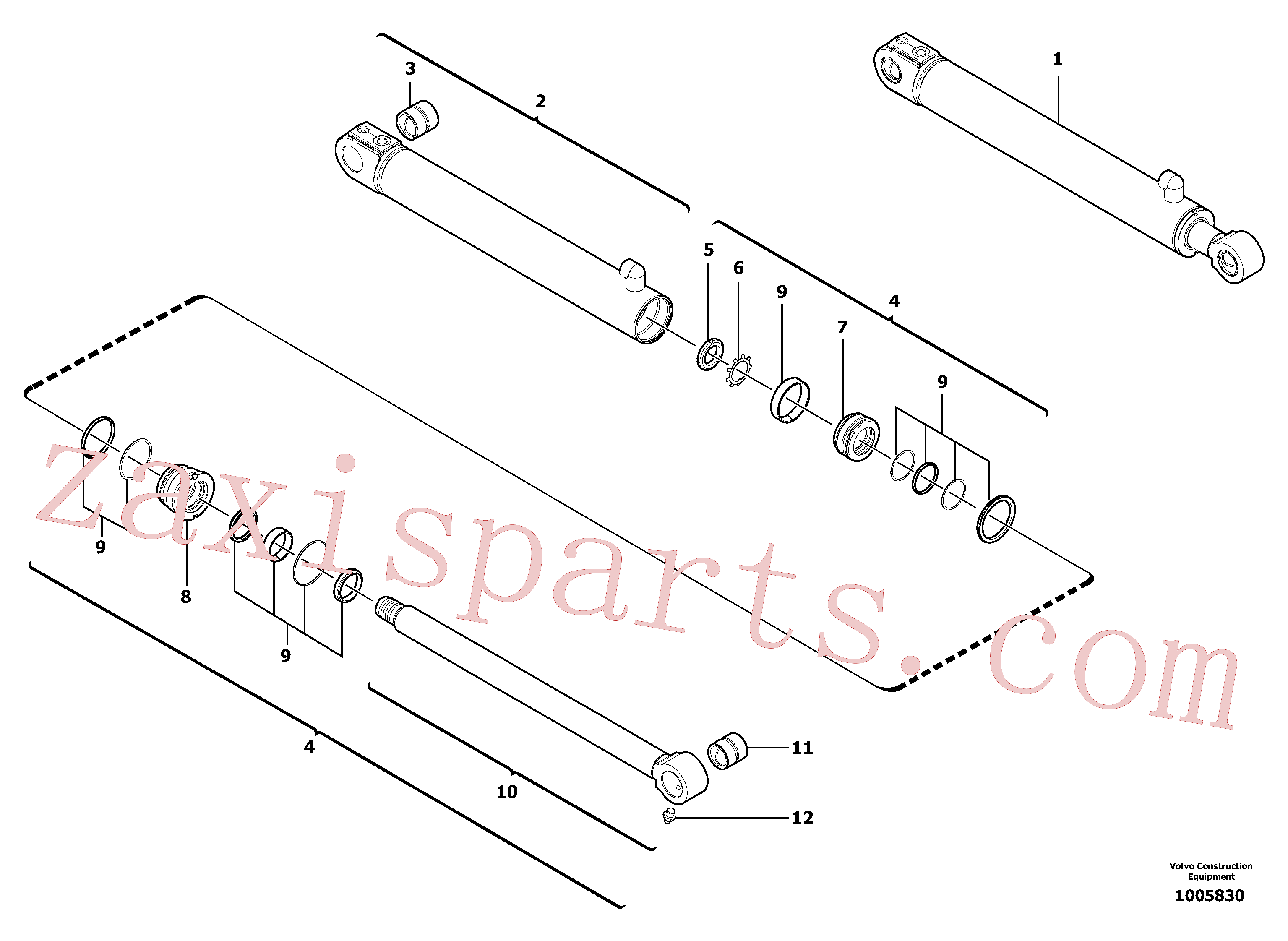 VOE11988460 for Volvo Boom offset cylinder(1005830 assembly)