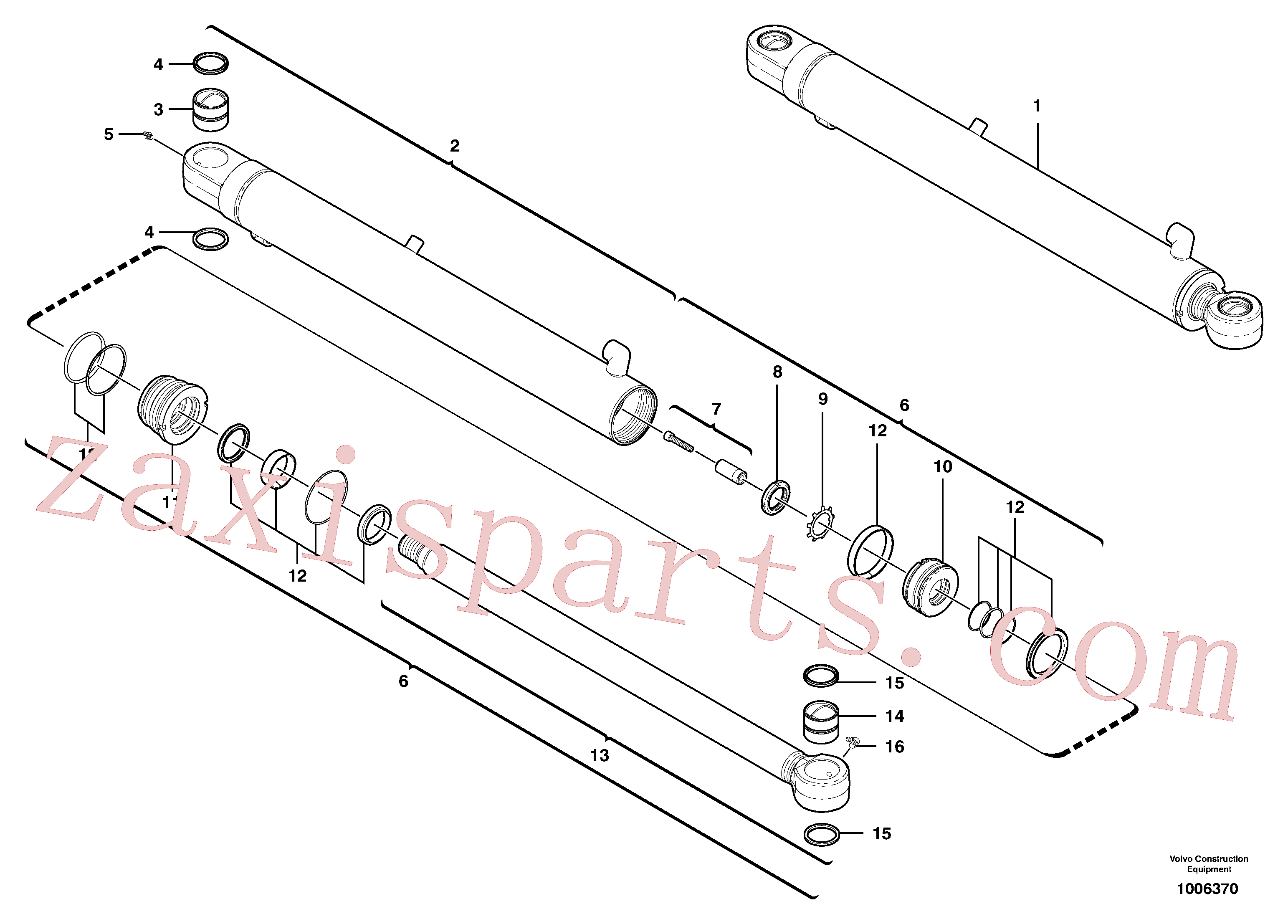 VOE11988967 for Volvo Dipper arm cylinder(1006370 assembly)