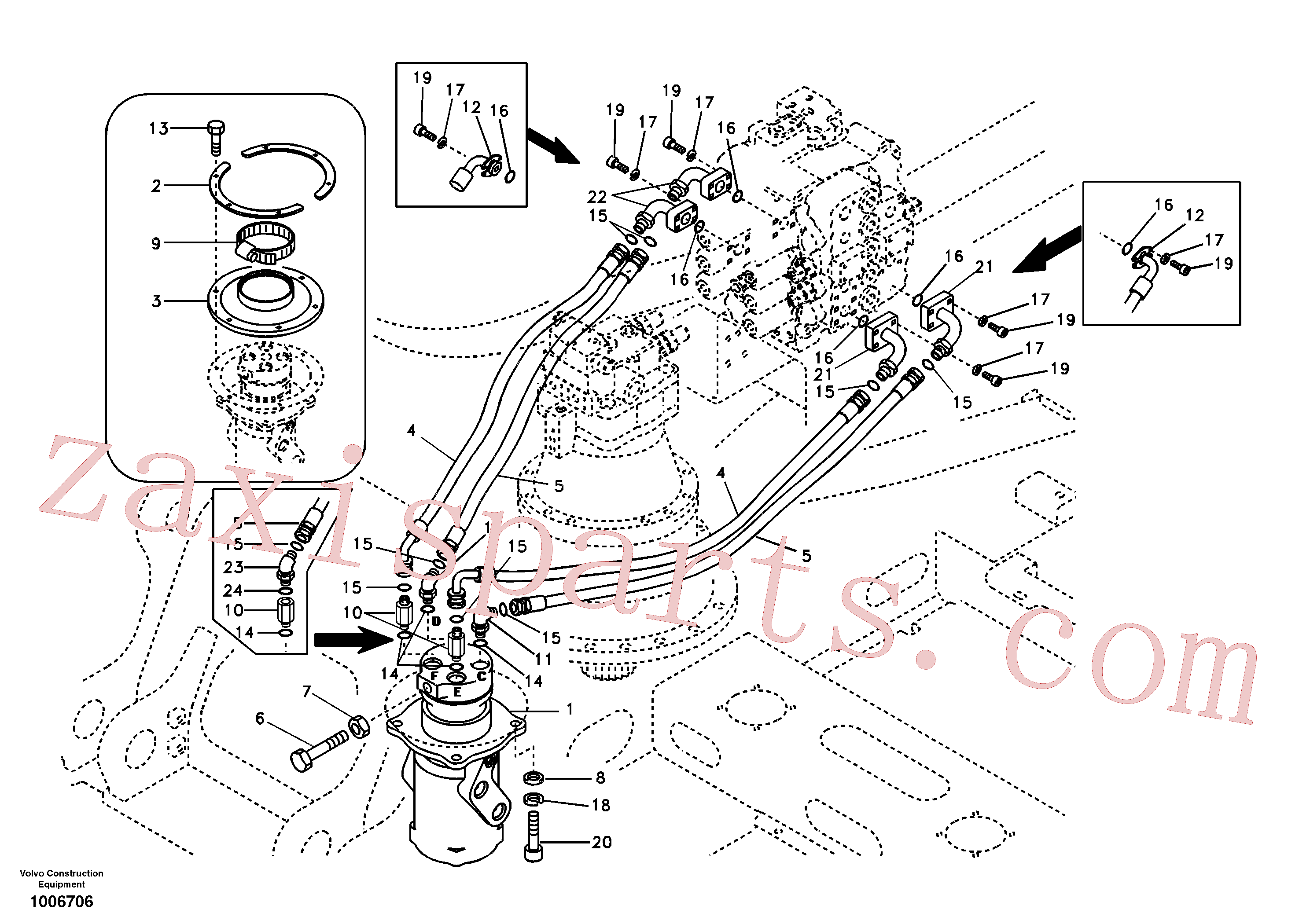 SA9411-96271 for Volvo Turning joint line, control valve to turning joint(1006706 assembly)