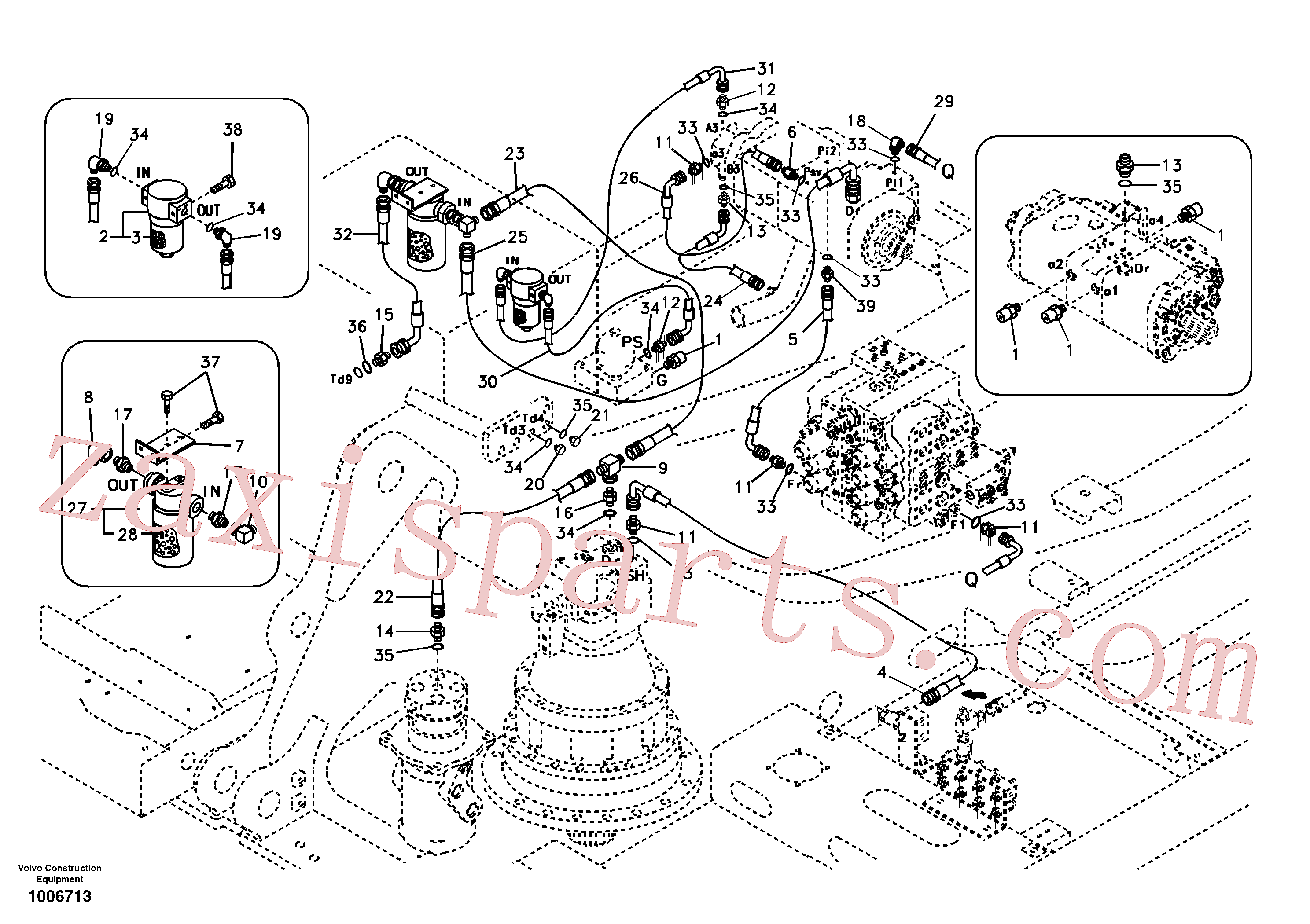 SA1042-00820 for Volvo Servo system, pump piping and filter mount.(1006713 assembly)
