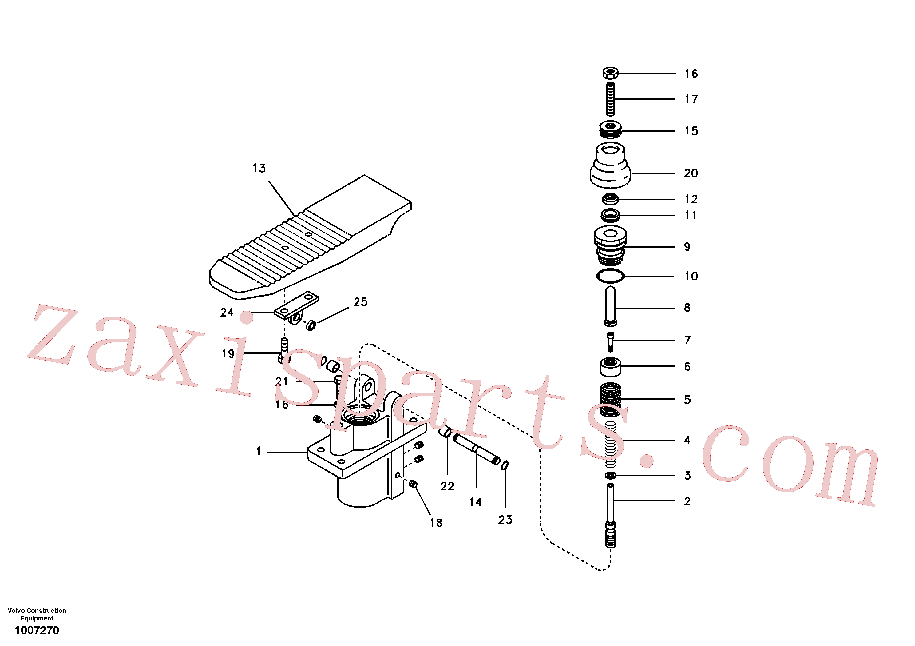 SA8230-19400 for Volvo Remote control valve pedal(1007270 assembly)