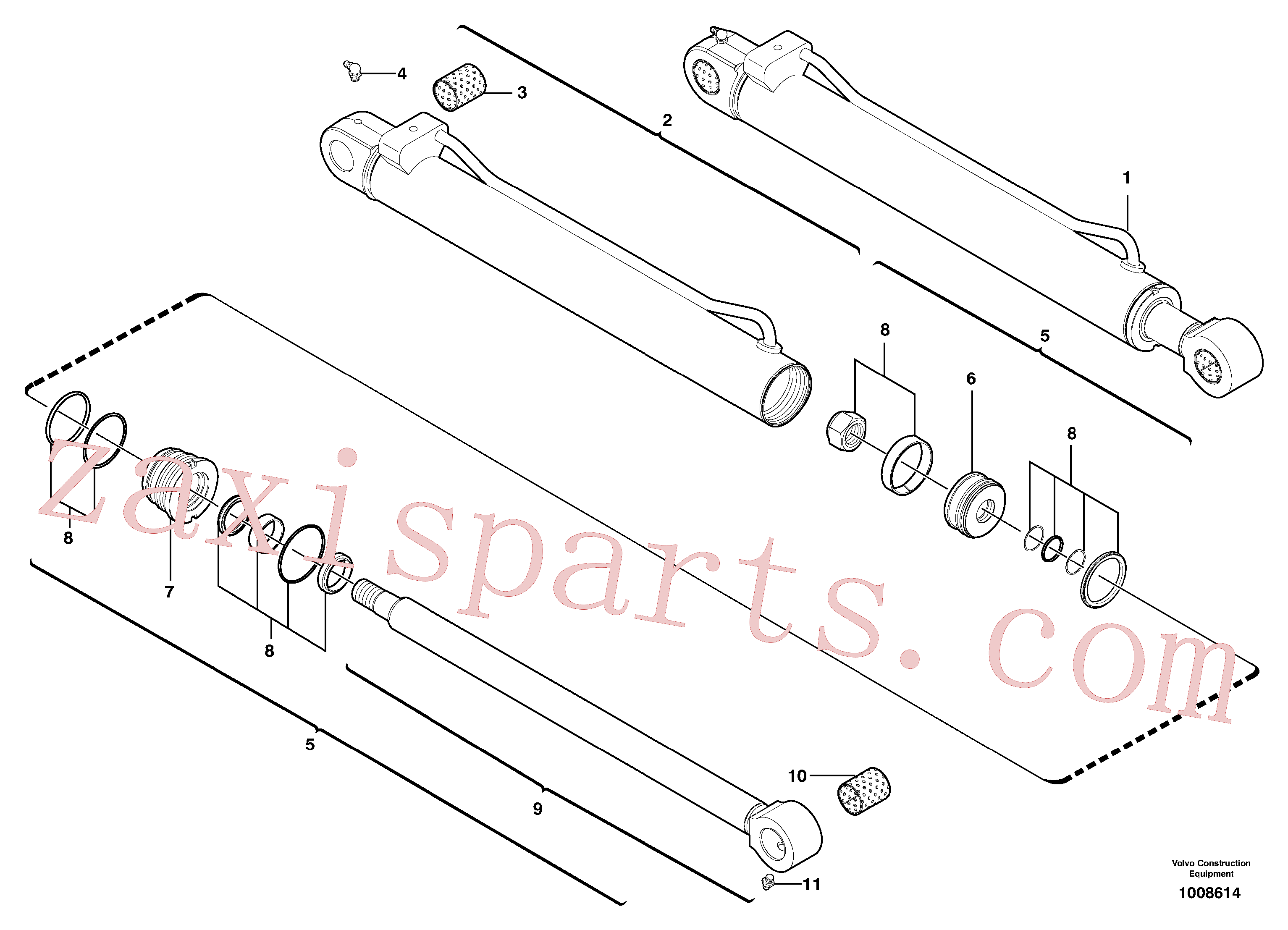 VOE11988459 for Volvo Dipper arm cylinder(1008614 assembly)