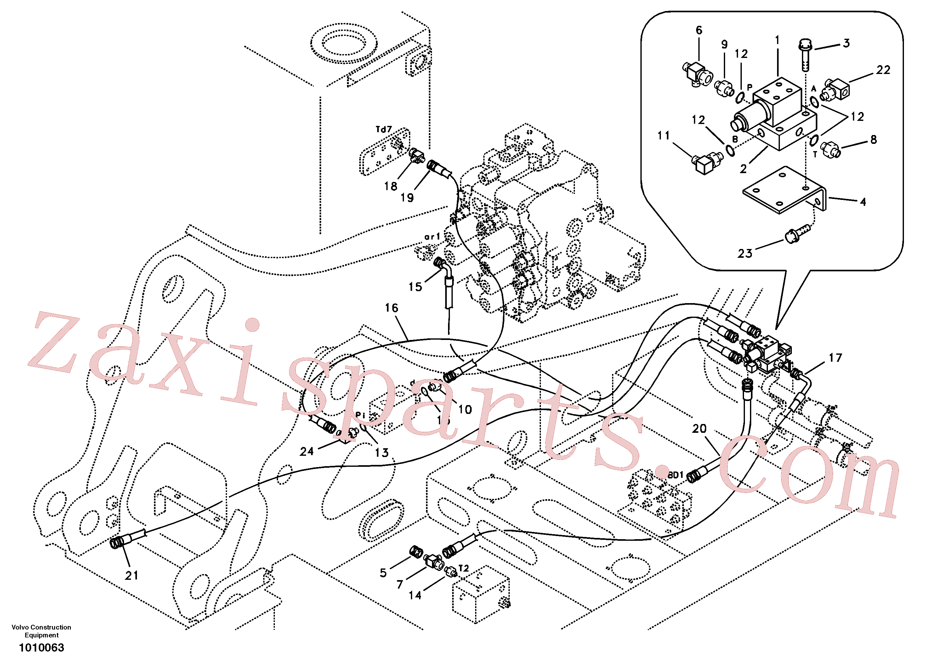 SA9451-02231 for Volvo Servo system, control valve to solenoid valve(1010063 assembly)