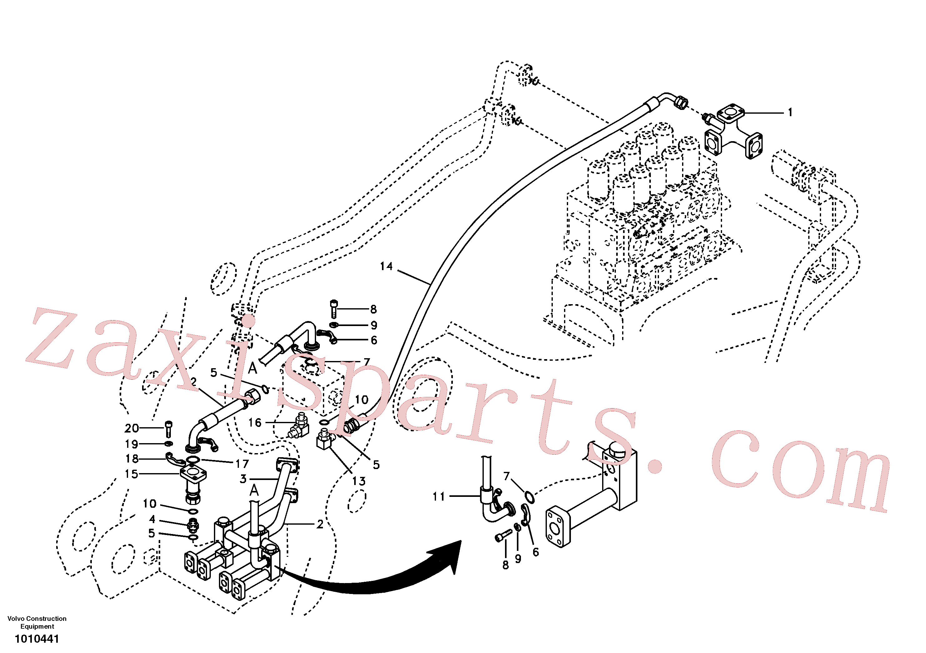 VOE14518866 for Volvo Hydraulic system, control valve to boom and swing(1010441 assembly)