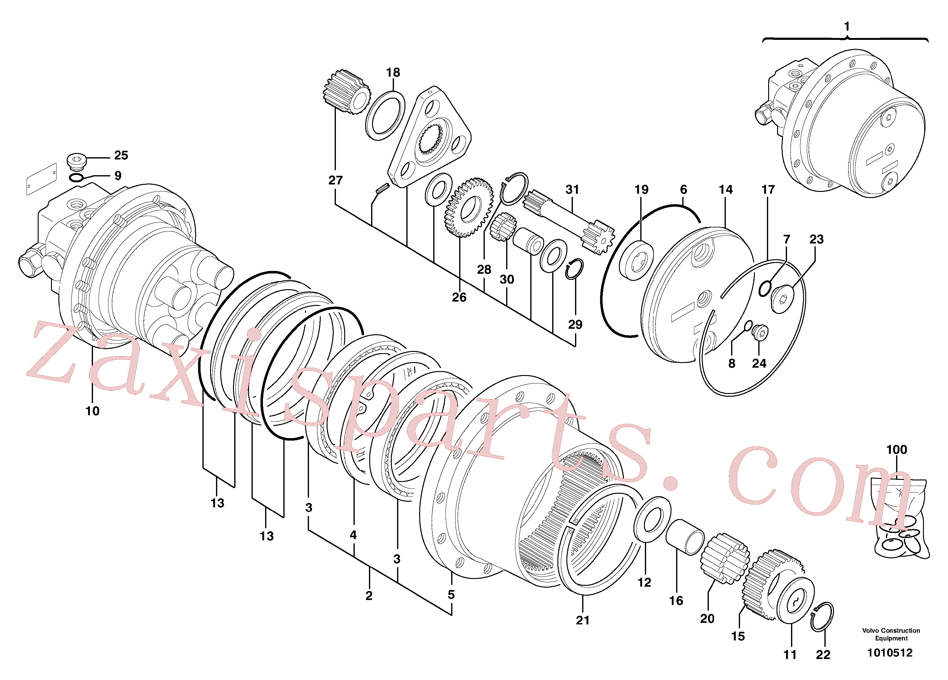 PJ7417238 for Volvo Hydraulic travelling motor(1010512 assembly)