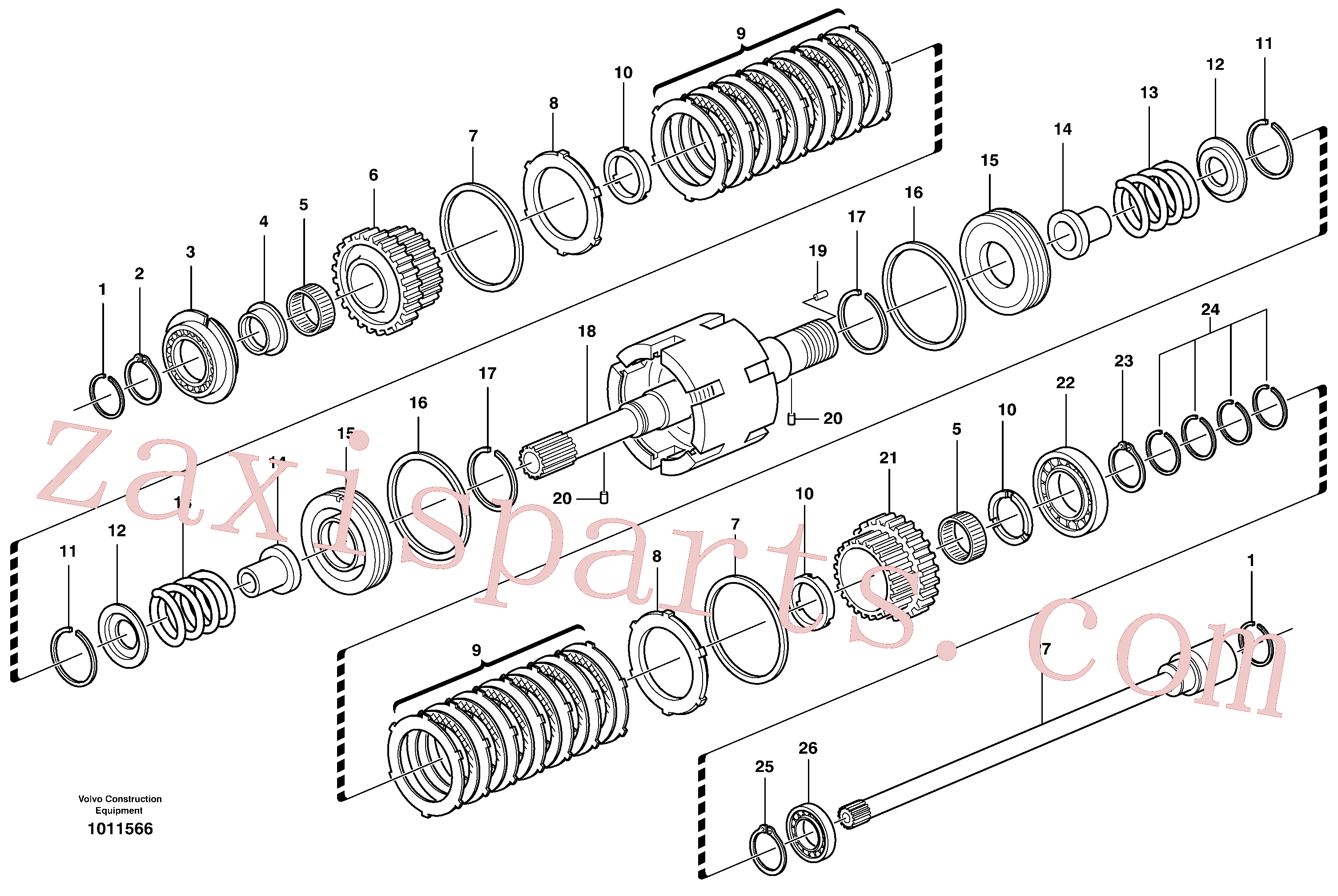 VOE11709087 for Volvo Clutch shaft forward/reverse(1011566 assembly)