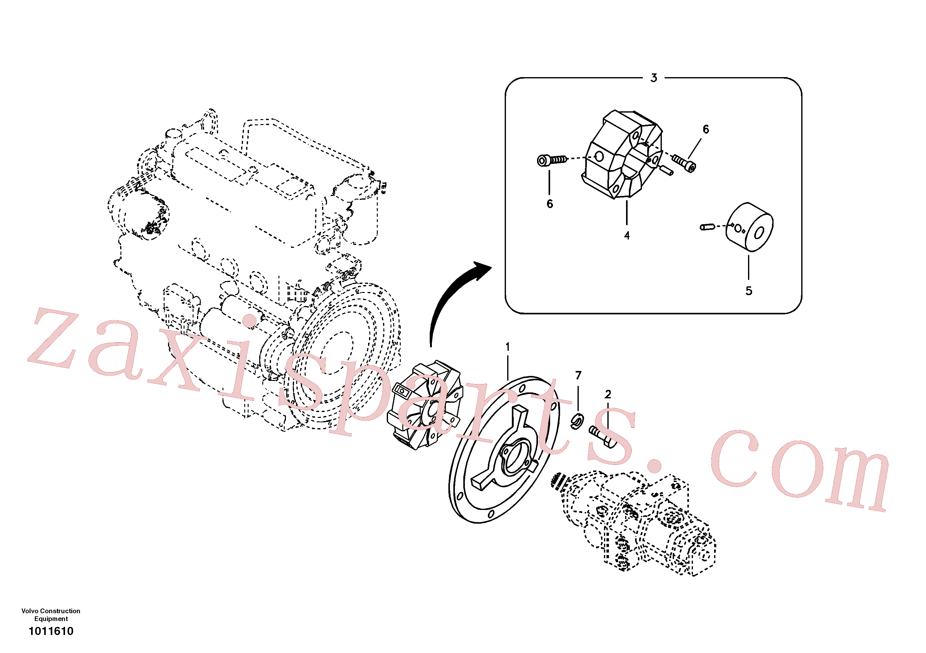 VOE14523947 for Volvo Pump gearbox with assembling parts(1011610 assembly)