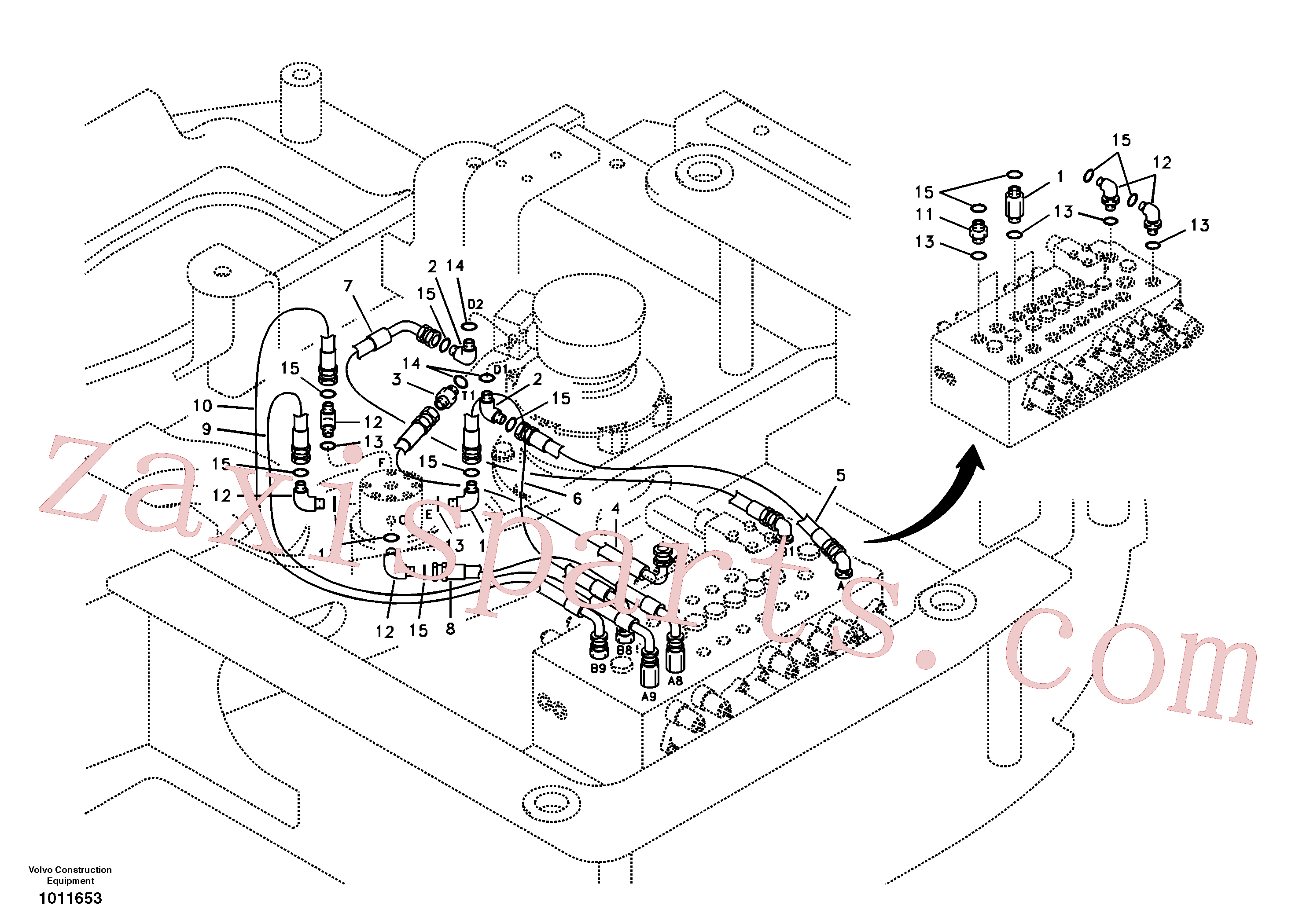 VOE14880488 for Volvo Turning joint line, control valve to turning joint(1011653 assembly)