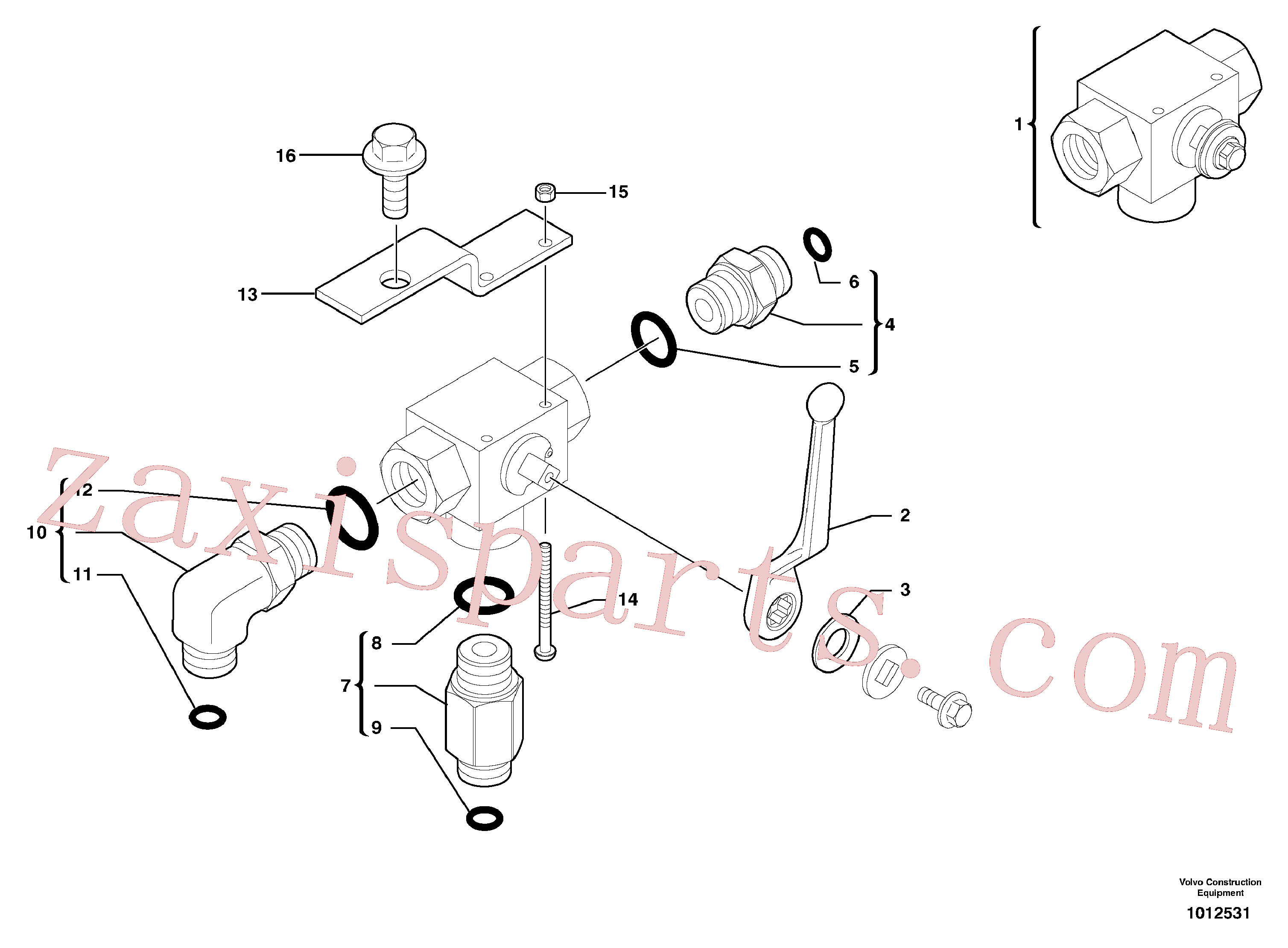VOE969523 for Volvo Three-way valve(1012531 assembly)