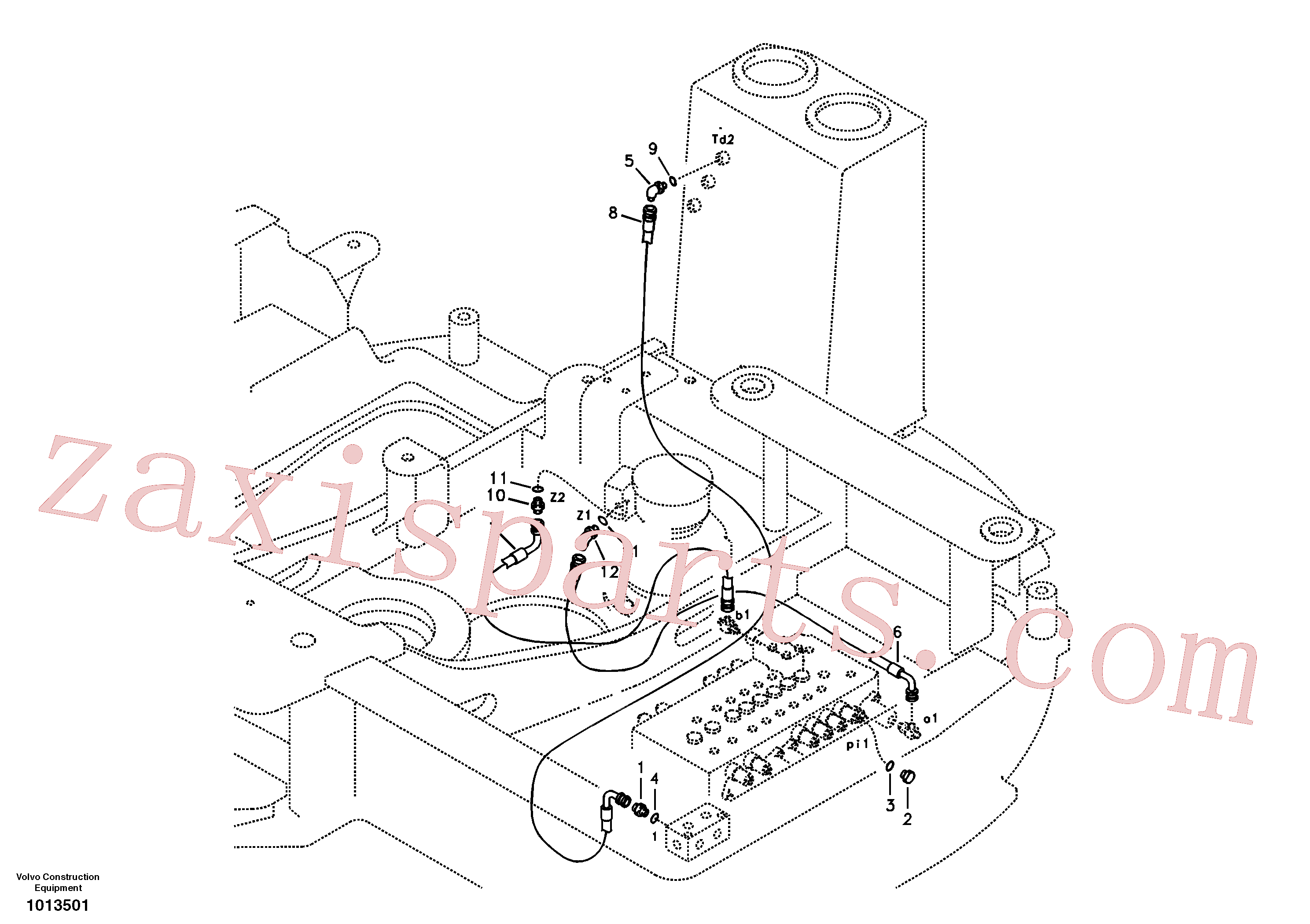 SA9453-03250 for Volvo Servo system, control valve piping.(1013501 assembly)
