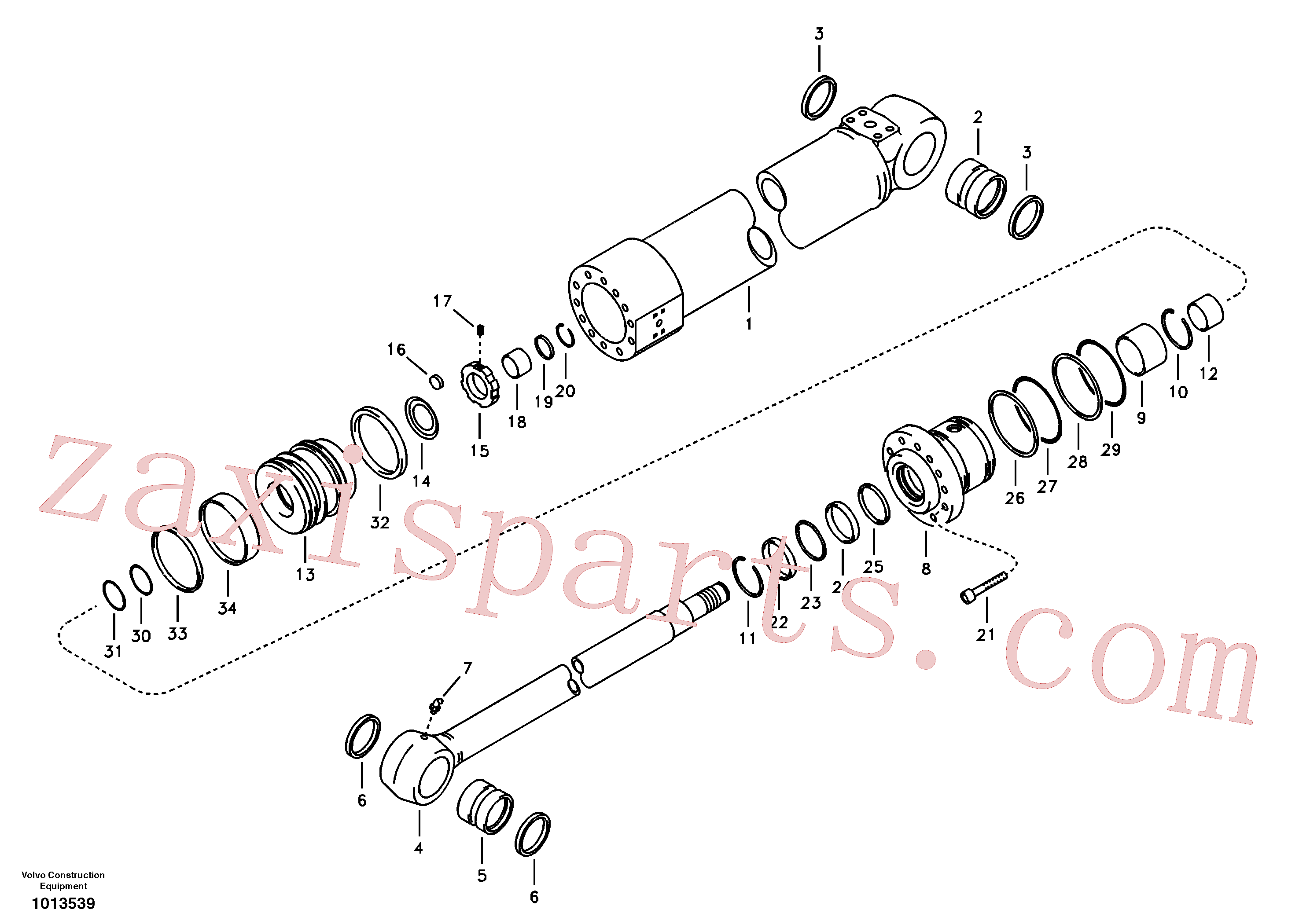 VOE14881266 for Volvo Dipper arm cylinder(1013539 assembly)