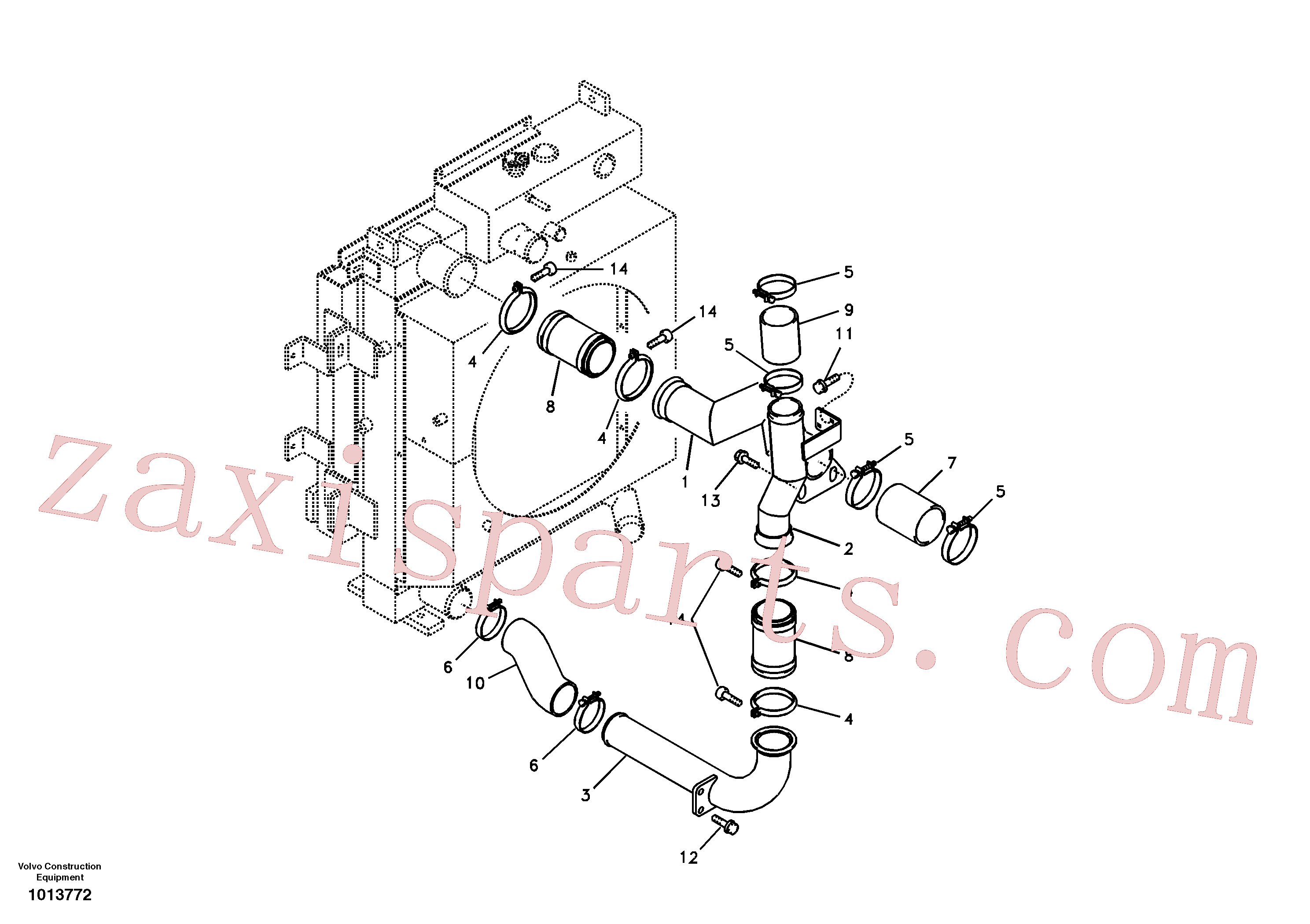 SA9313-10300 for Volvo Charge air cooler, plumbing(1013772 assembly)