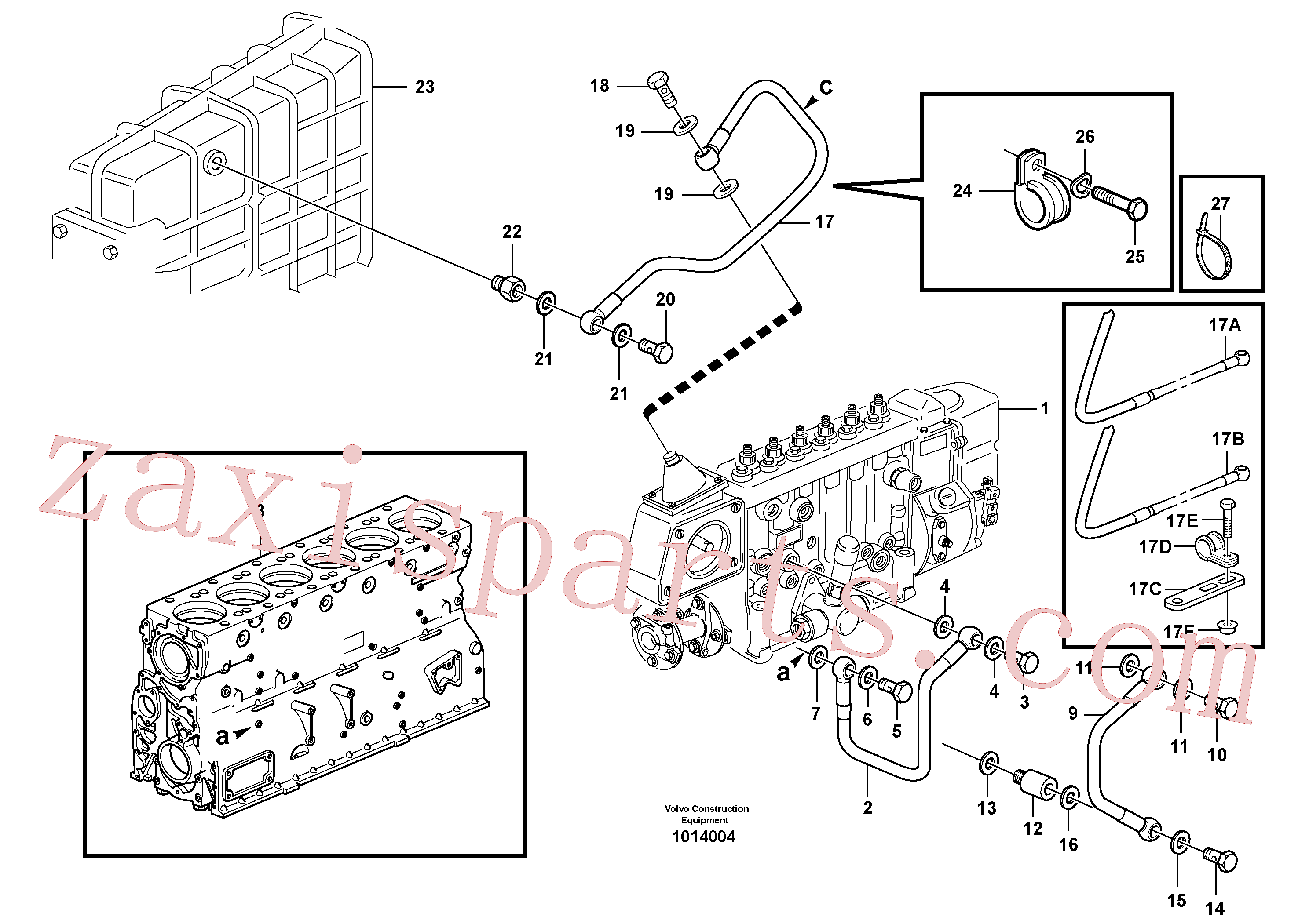 VOE13940133 for Volvo Fuel system, oil pipe, pipe for smoke limiter(1014004 assembly)