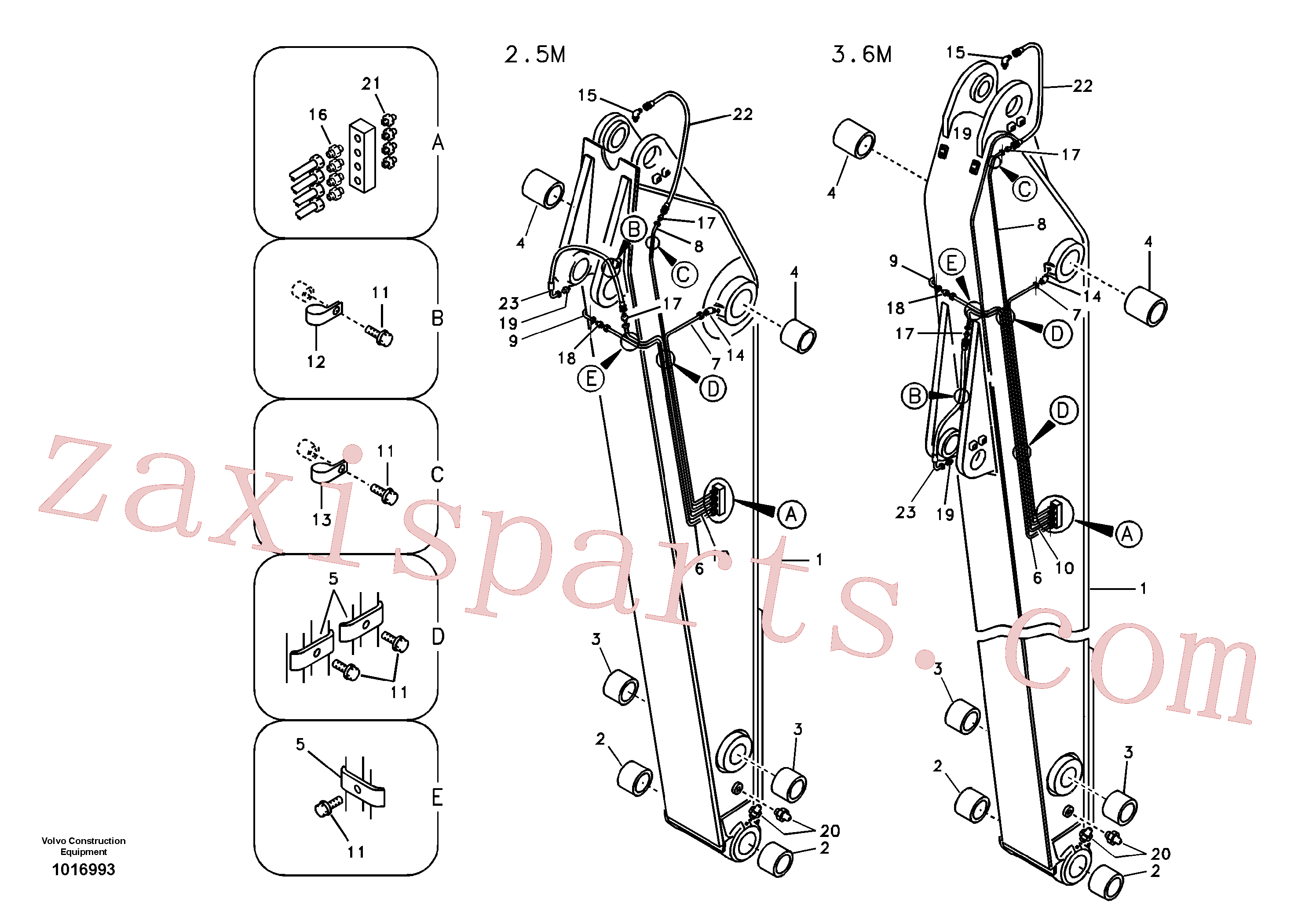VOE14532031 for Volvo Dipper arm and grease piping with piping seat(1016993 assembly)