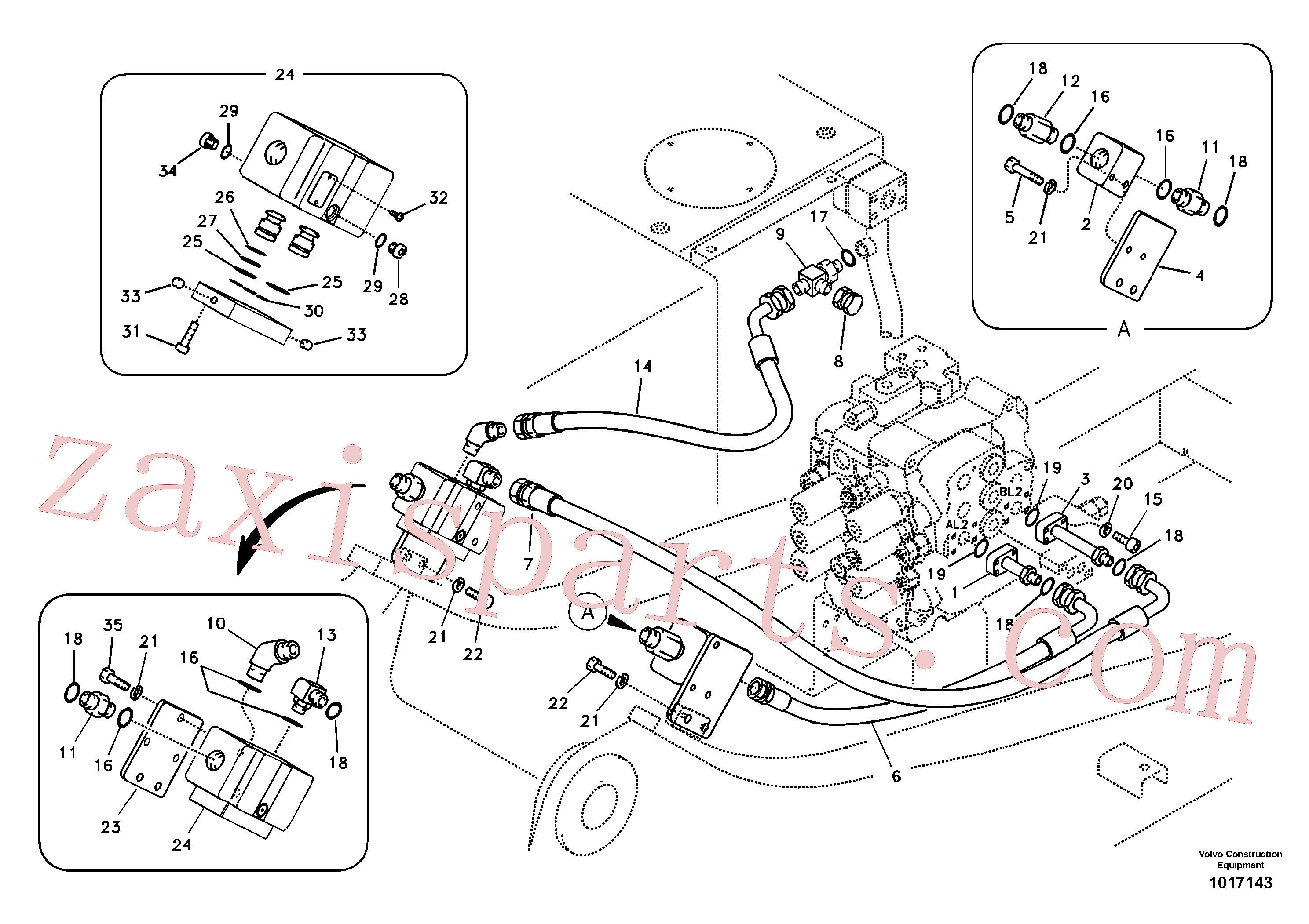 VOE14880071 for Volvo Working hydraulic, hammer and shear for upper(1017143 assembly)