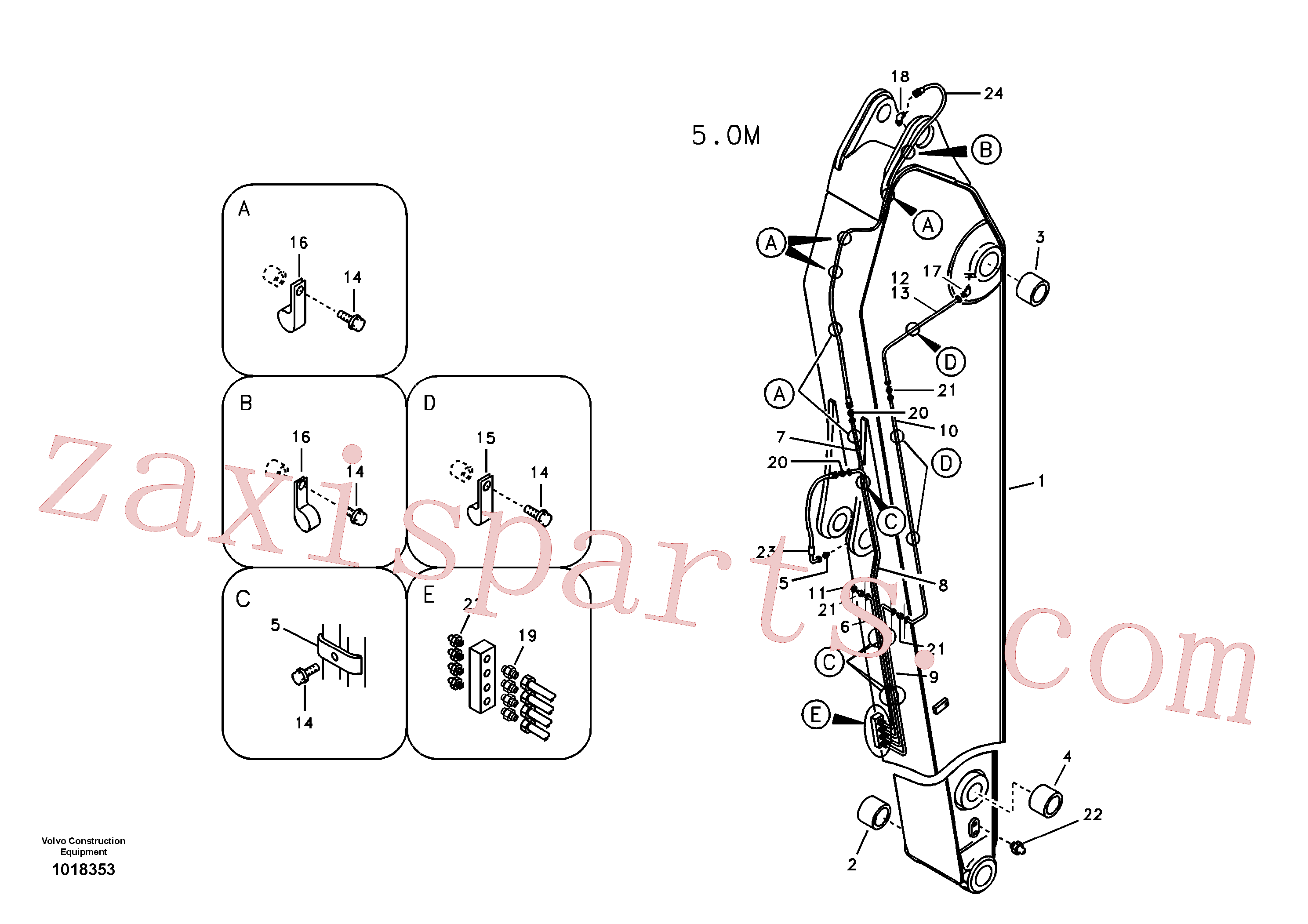 VOE14880988 for Volvo Dipper arm and grease piping with piping seat, long reach(1018353 assembly)