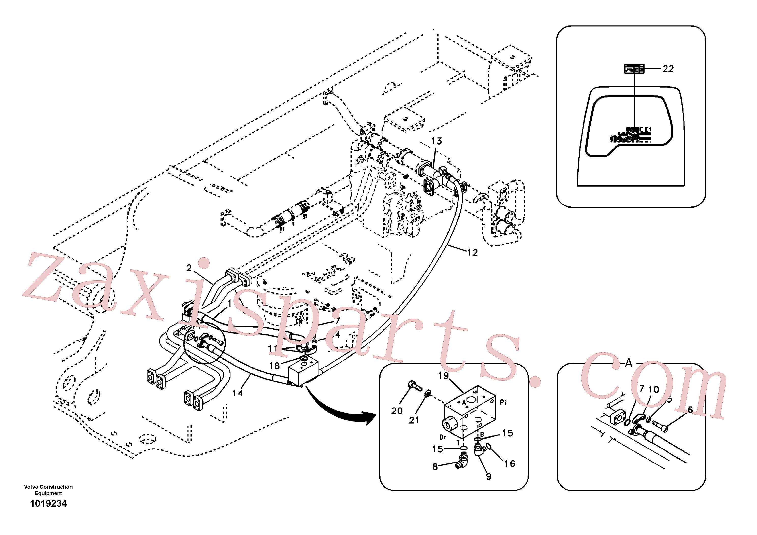 VOE938433 for Volvo Hydraulic system, control valve to boom and swing(1019234 assembly)