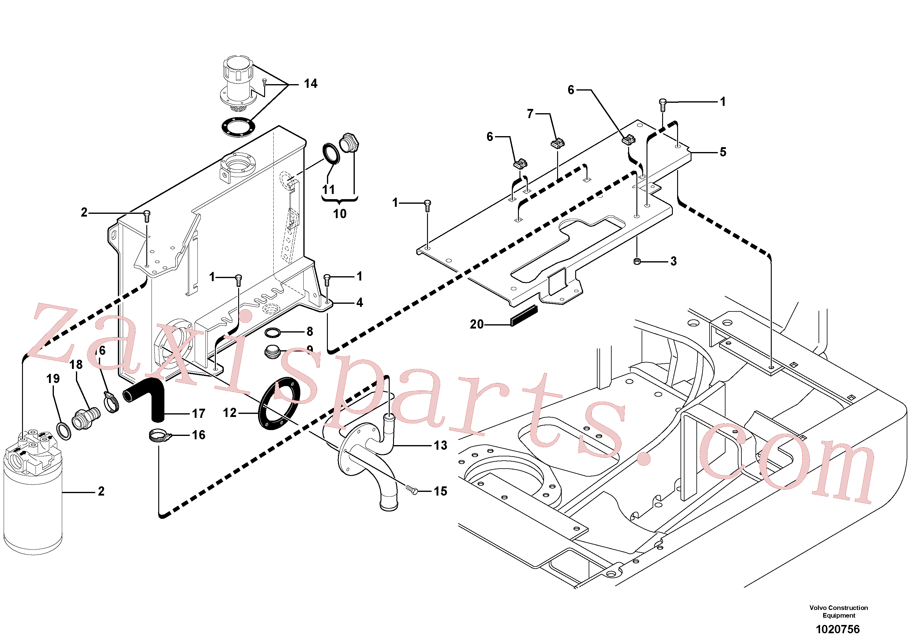 VOE11802459 for Volvo Hydraulic tank(1020756 assembly)