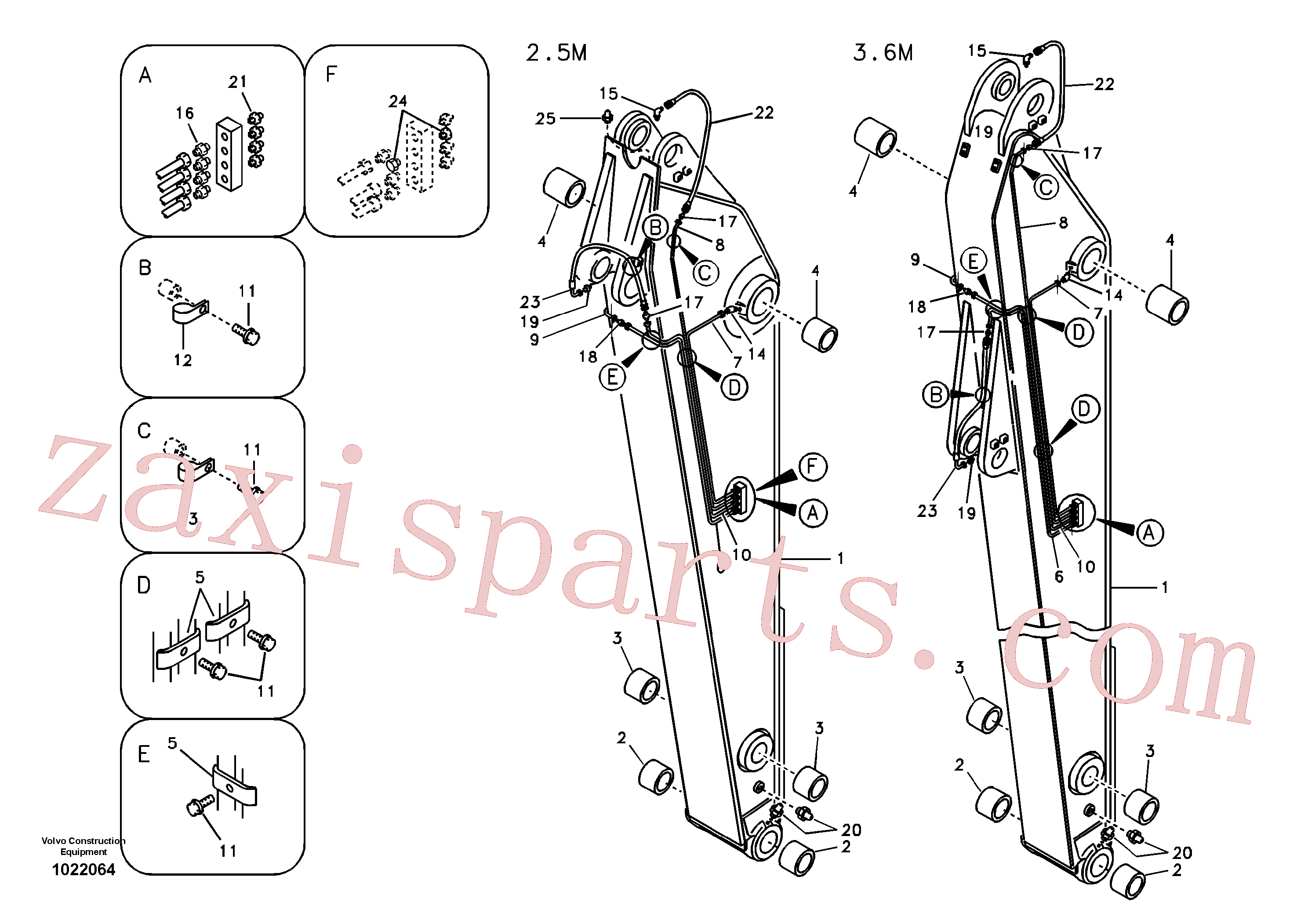 SA9415-43011 for Volvo Dipper arm and grease piping with piping seat(1022064 assembly)