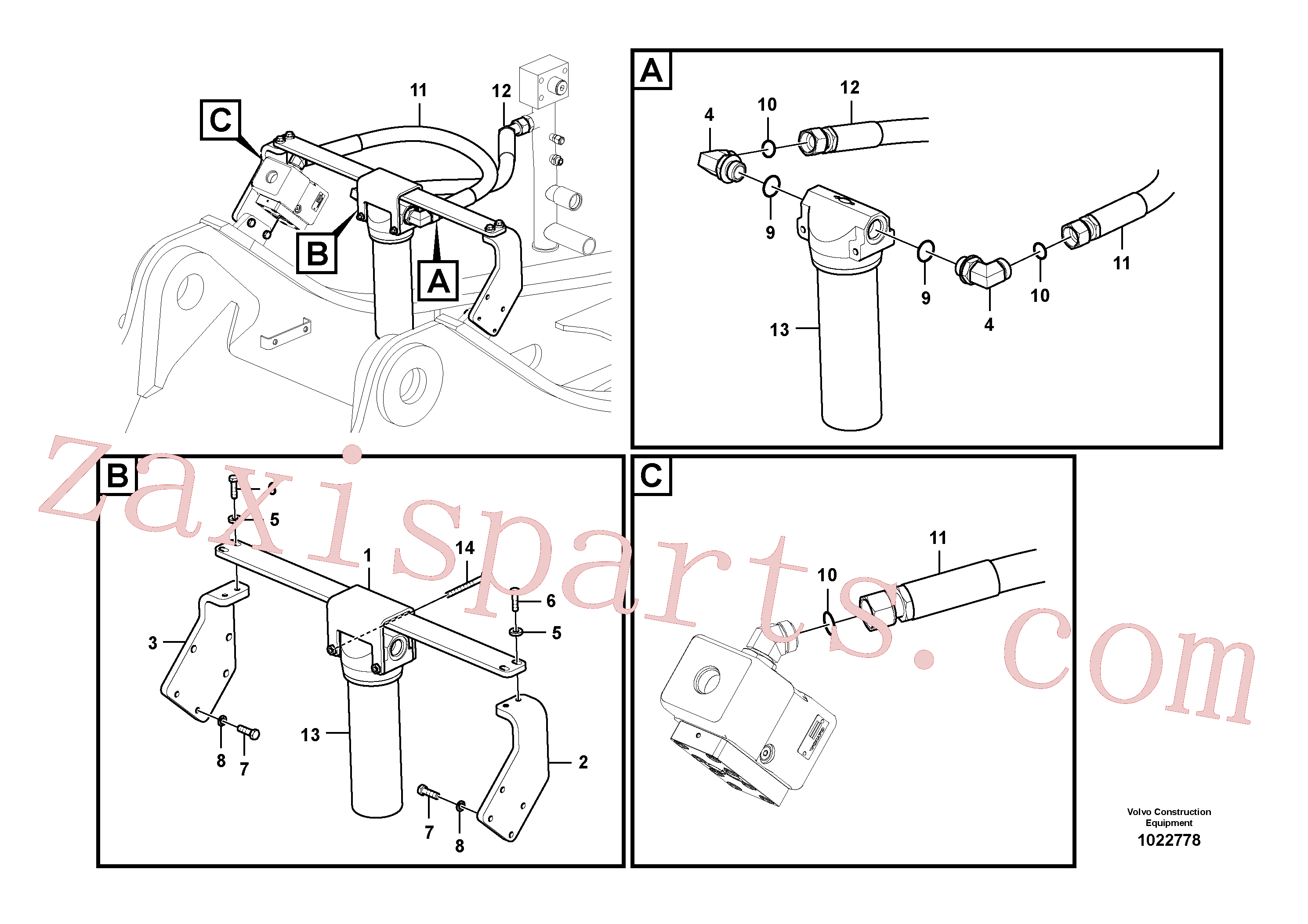 VOE14536063 for Volvo Working hydraulic, hammer and shear for return filter(1022778 assembly)
