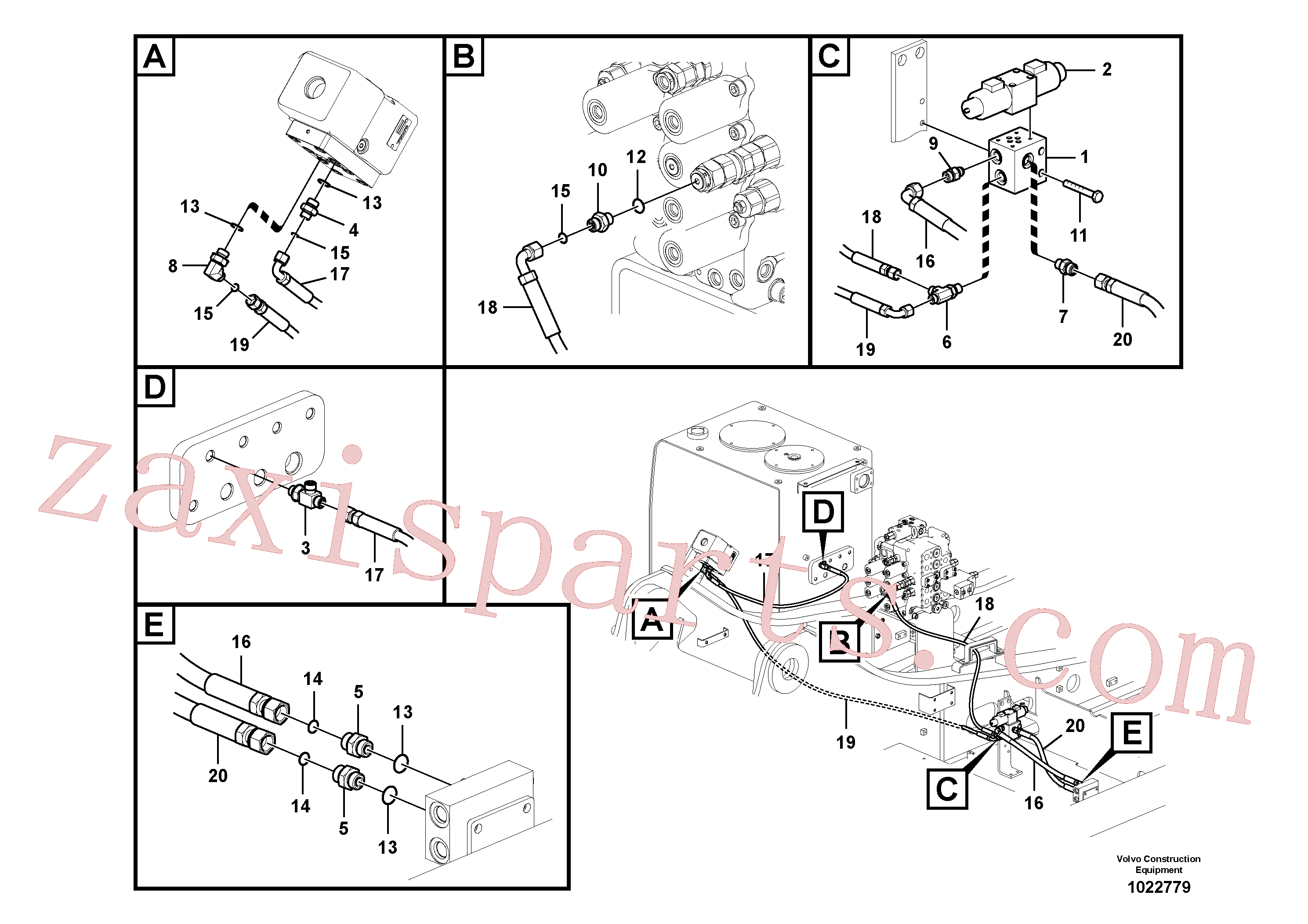 VOE14538879 for Volvo Working hydraulic, hammer and shear for 1st pump flow(1022779 assembly)