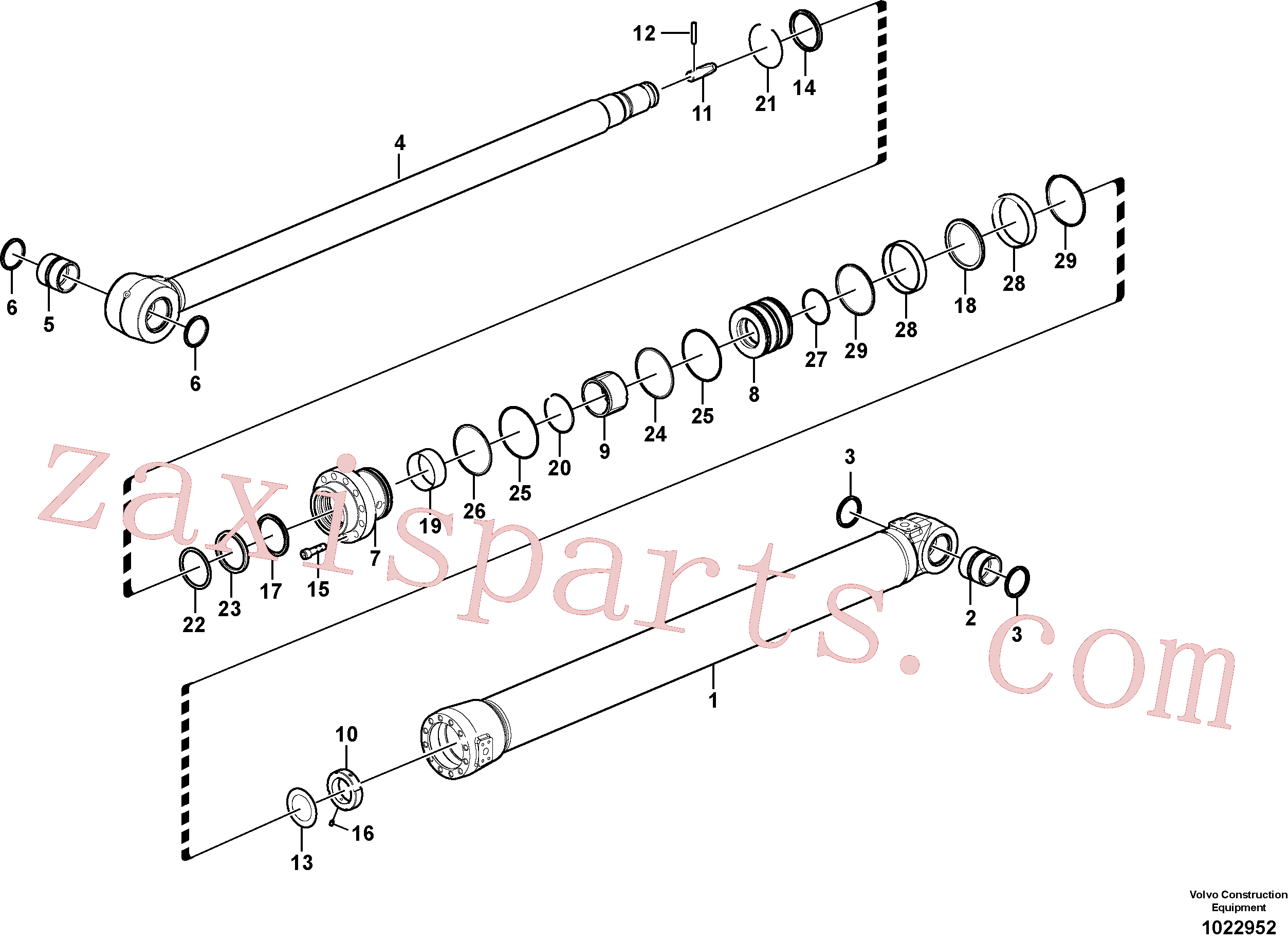 VOE14522909 for Volvo Dipper arm cylinder(1022952 assembly)