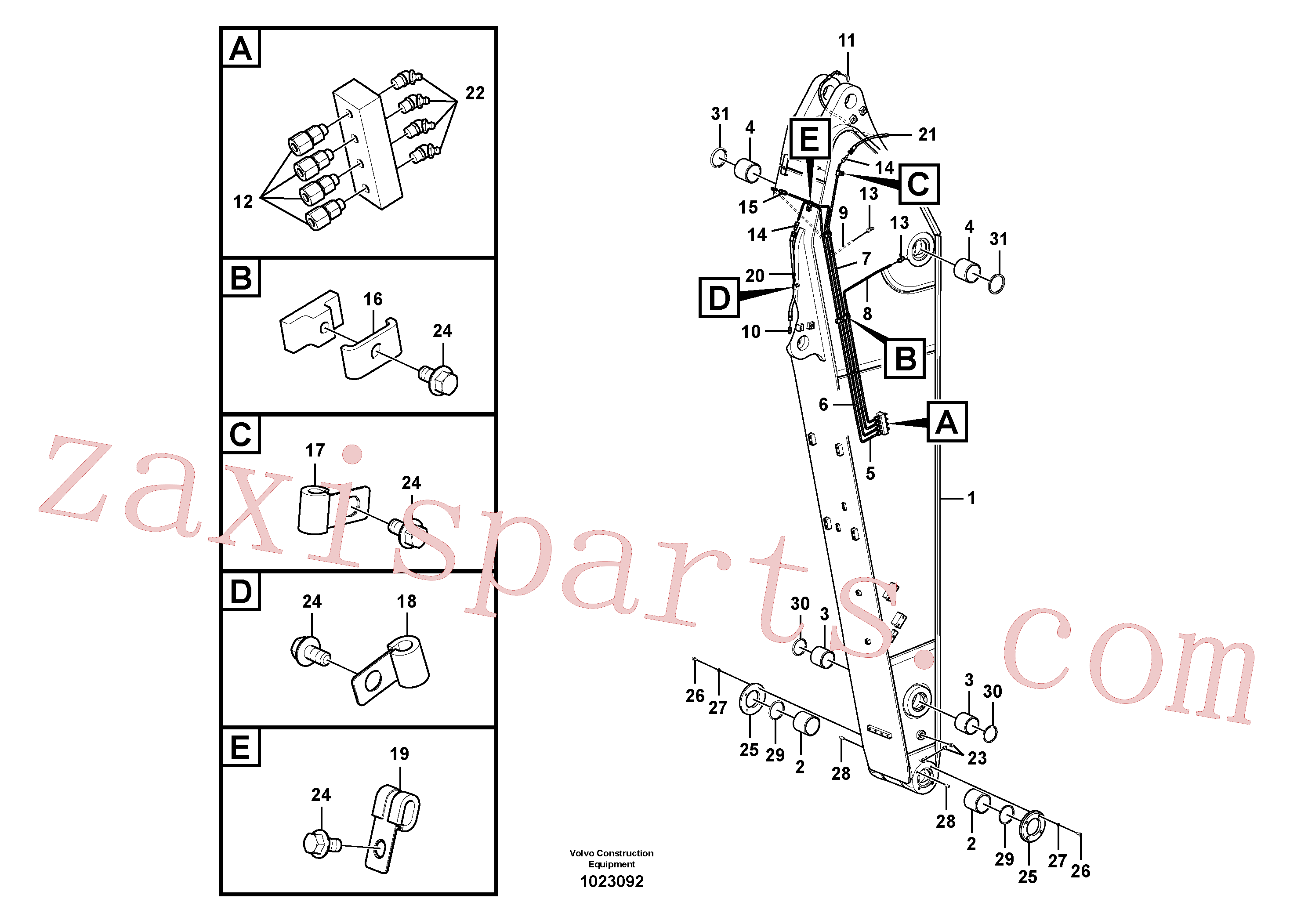 VOE14601882 for Volvo Dipper arm and grease piping with piping seat(1023092 assembly)