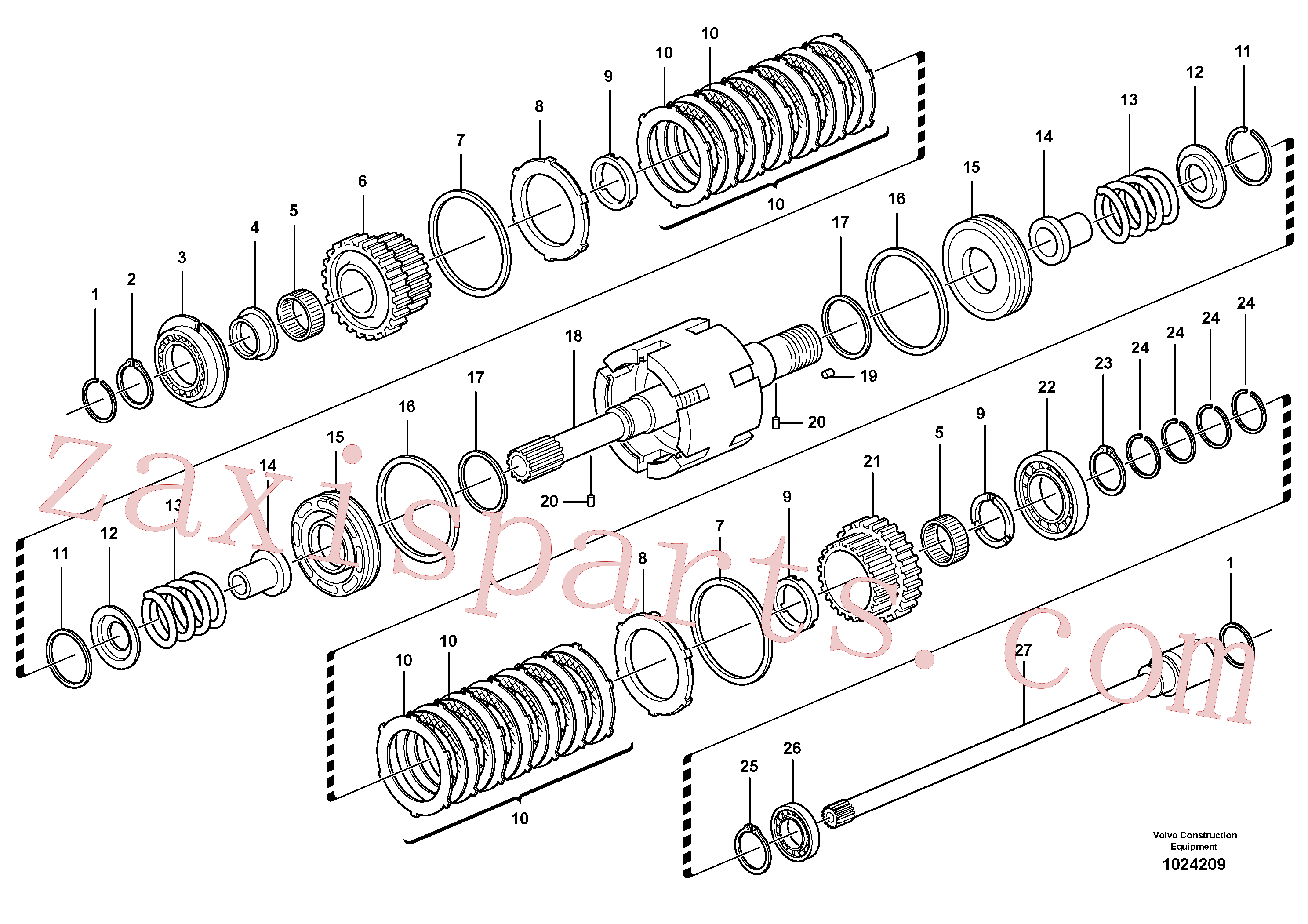 VOE11709087 for Volvo Clutch shaft forward/reverse(1024209 assembly)