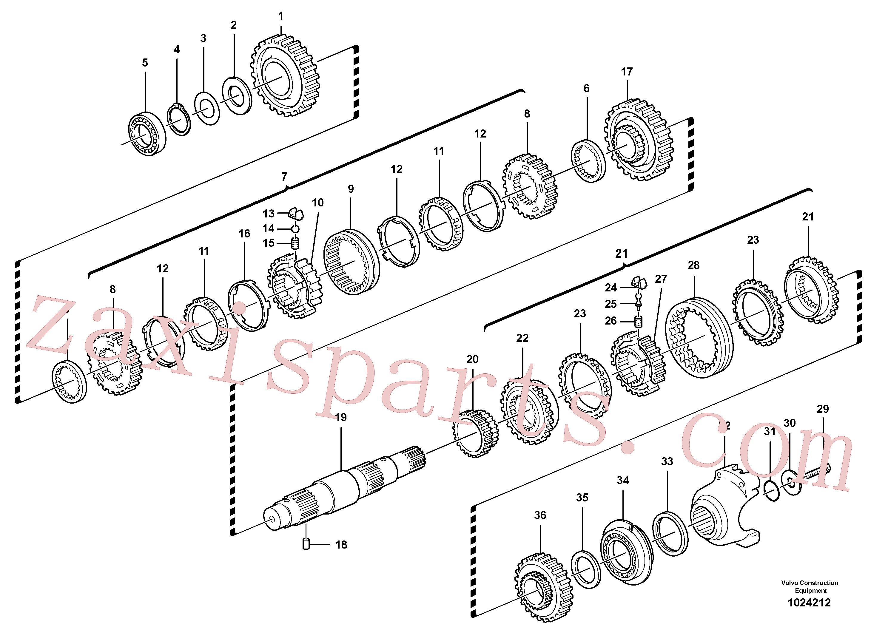 VOE11716672 for Volvo Secondary shaft(1024212 assembly)