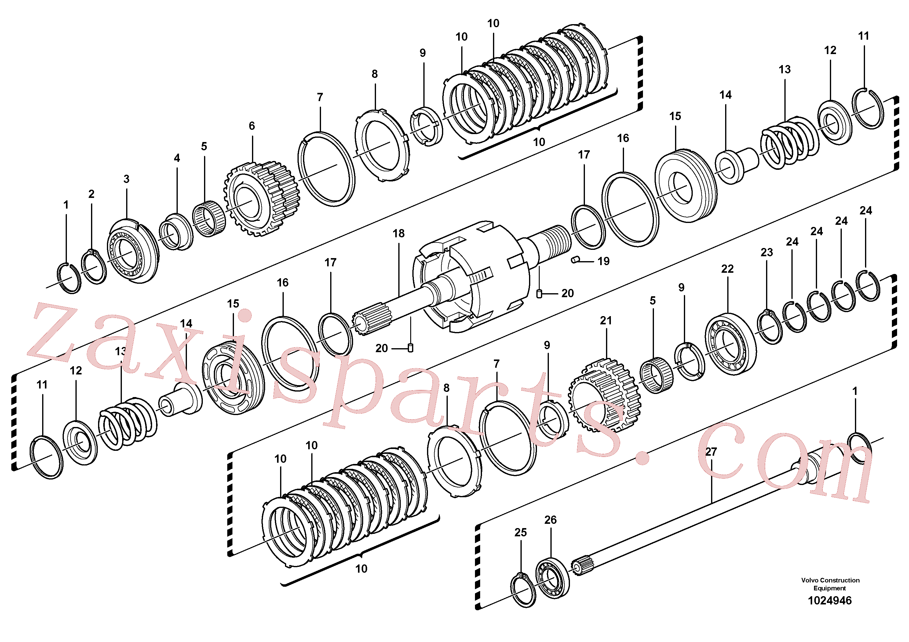 VOE11709087 for Volvo Clutch shaft forward/reverse(1024946 assembly)
