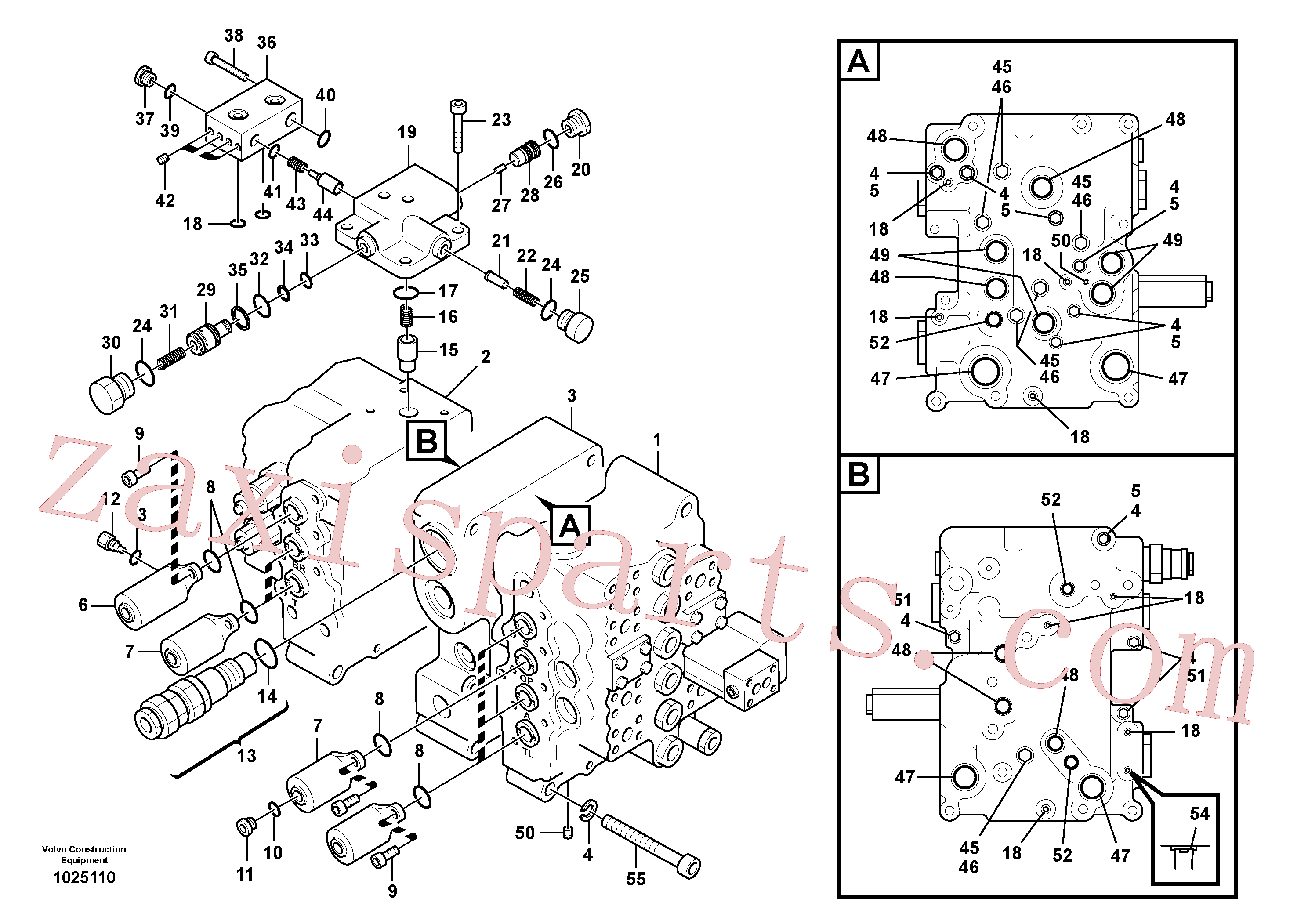 VOE14501805 for Volvo Main control valve, relief valve and boom holding(1025110 assembly)