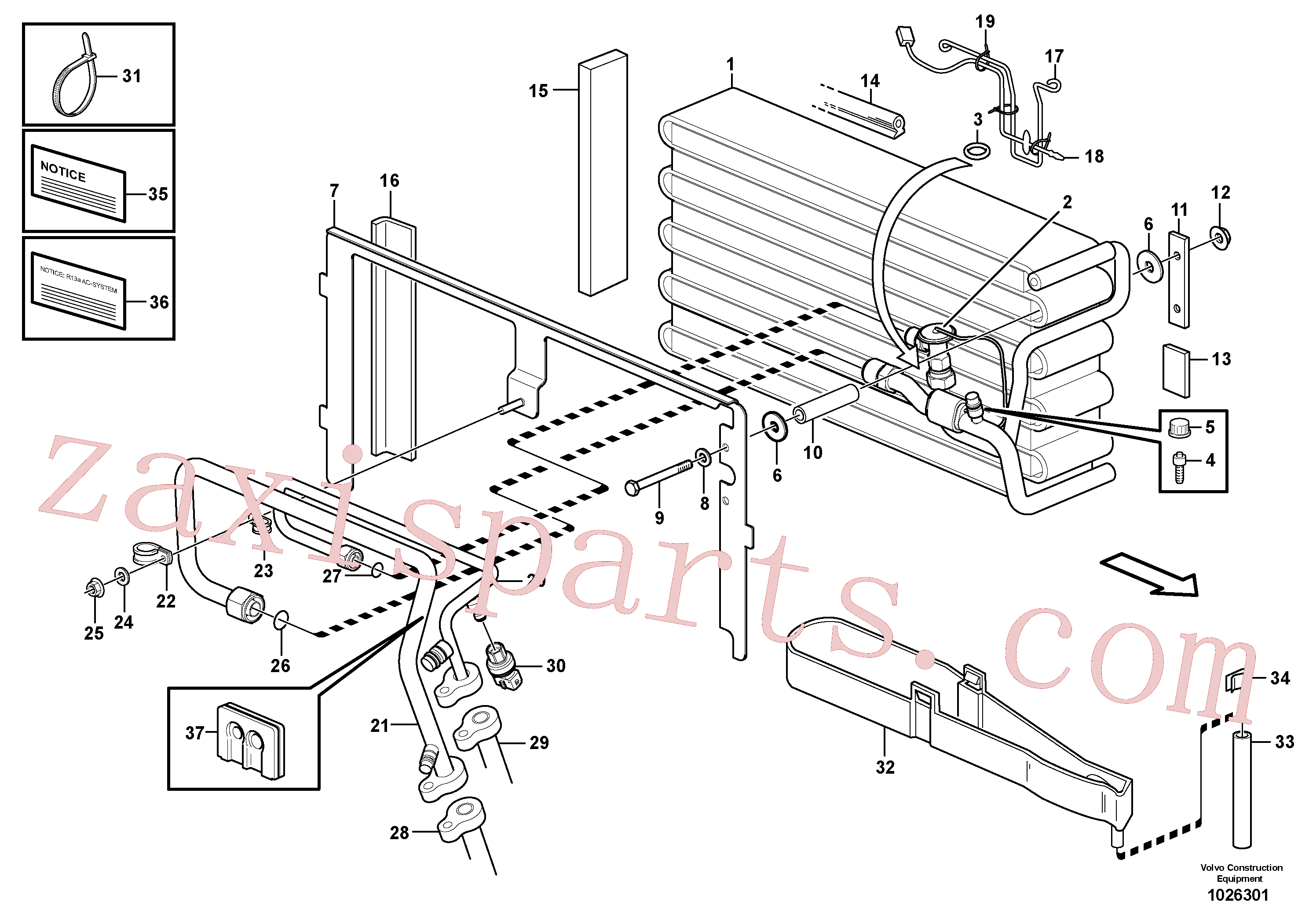 VOE3522589 for Volvo Evaporator for cooling agent R134a with fitting parts.(1026301 assembly)
