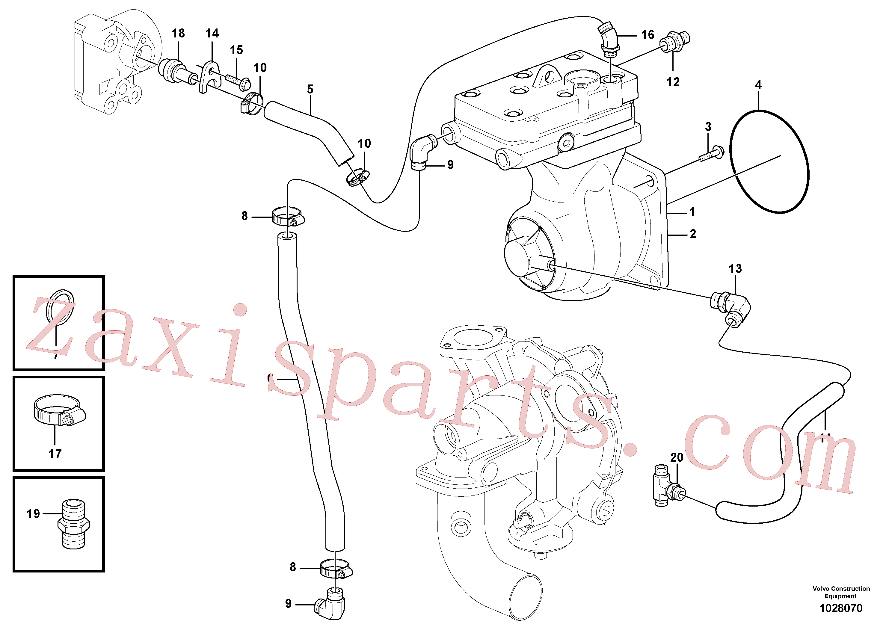 VOE13933859 for Volvo Air-compressor with fitting parts(1028070 assembly)