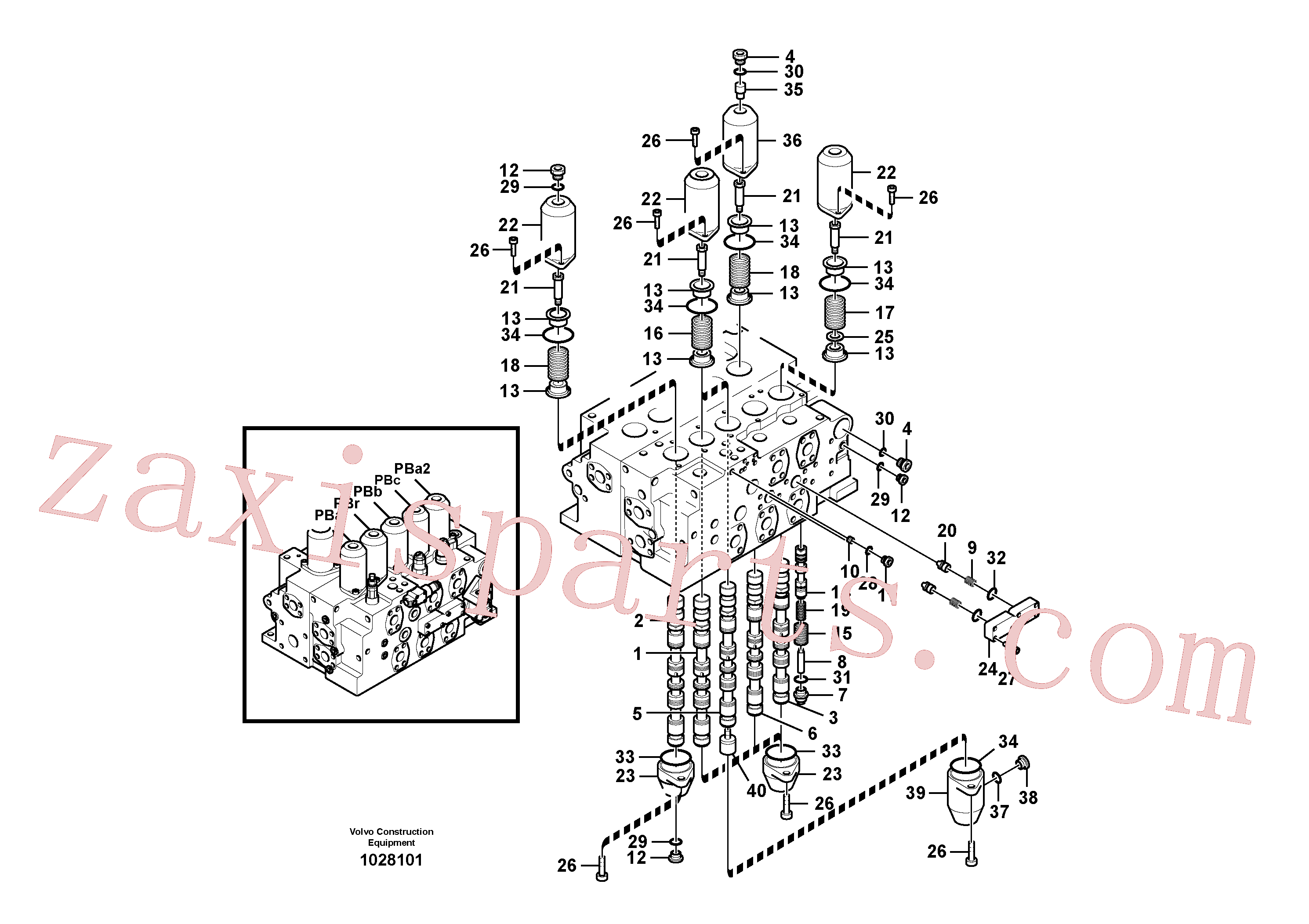 SA8230-36800 for Volvo Main control valve, boom and bucket and travel Rh(1028101 assembly)
