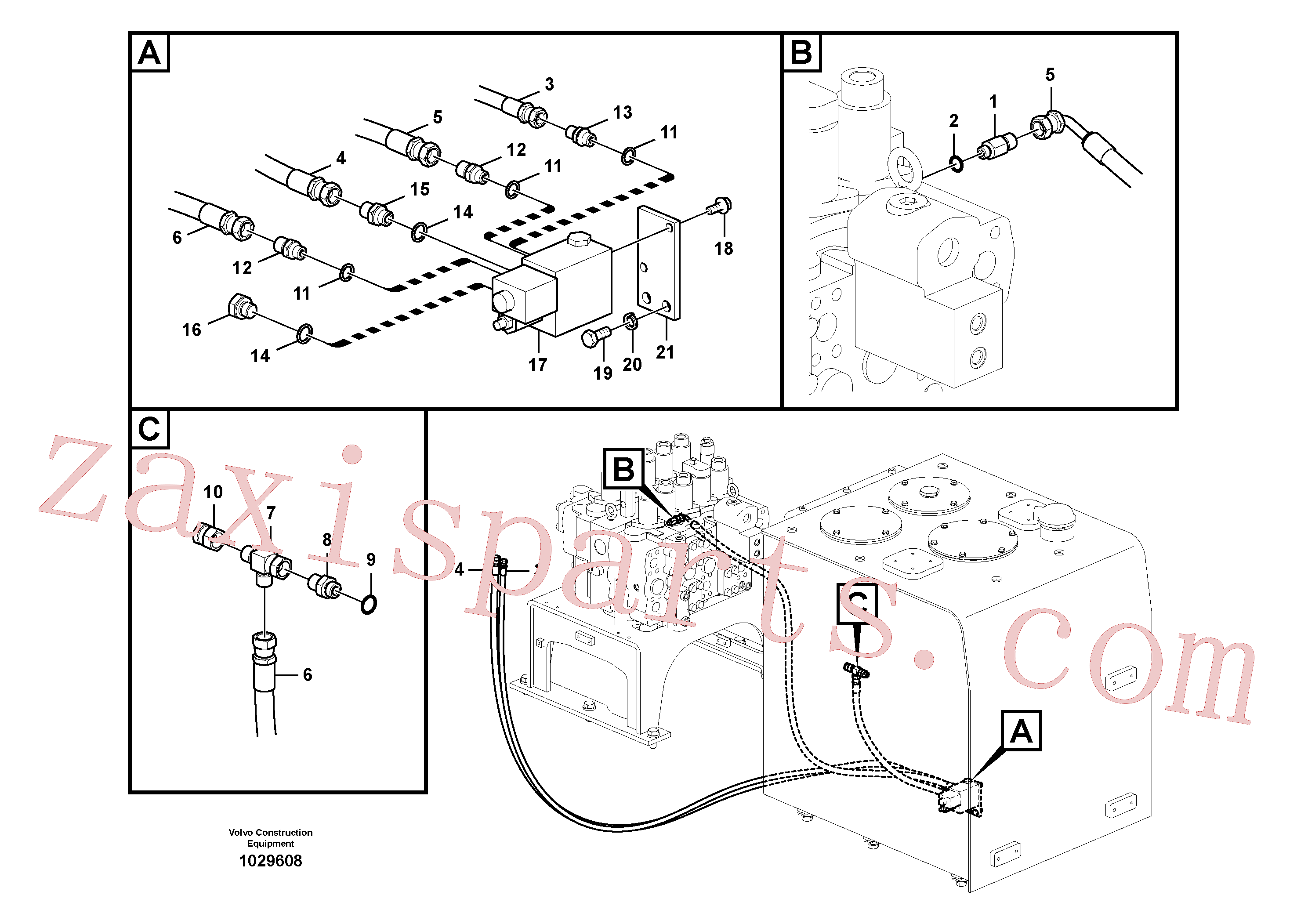 SA9412-11290 for Volvo Working hydraulic, quick fit on upper frame(1029608 assembly)
