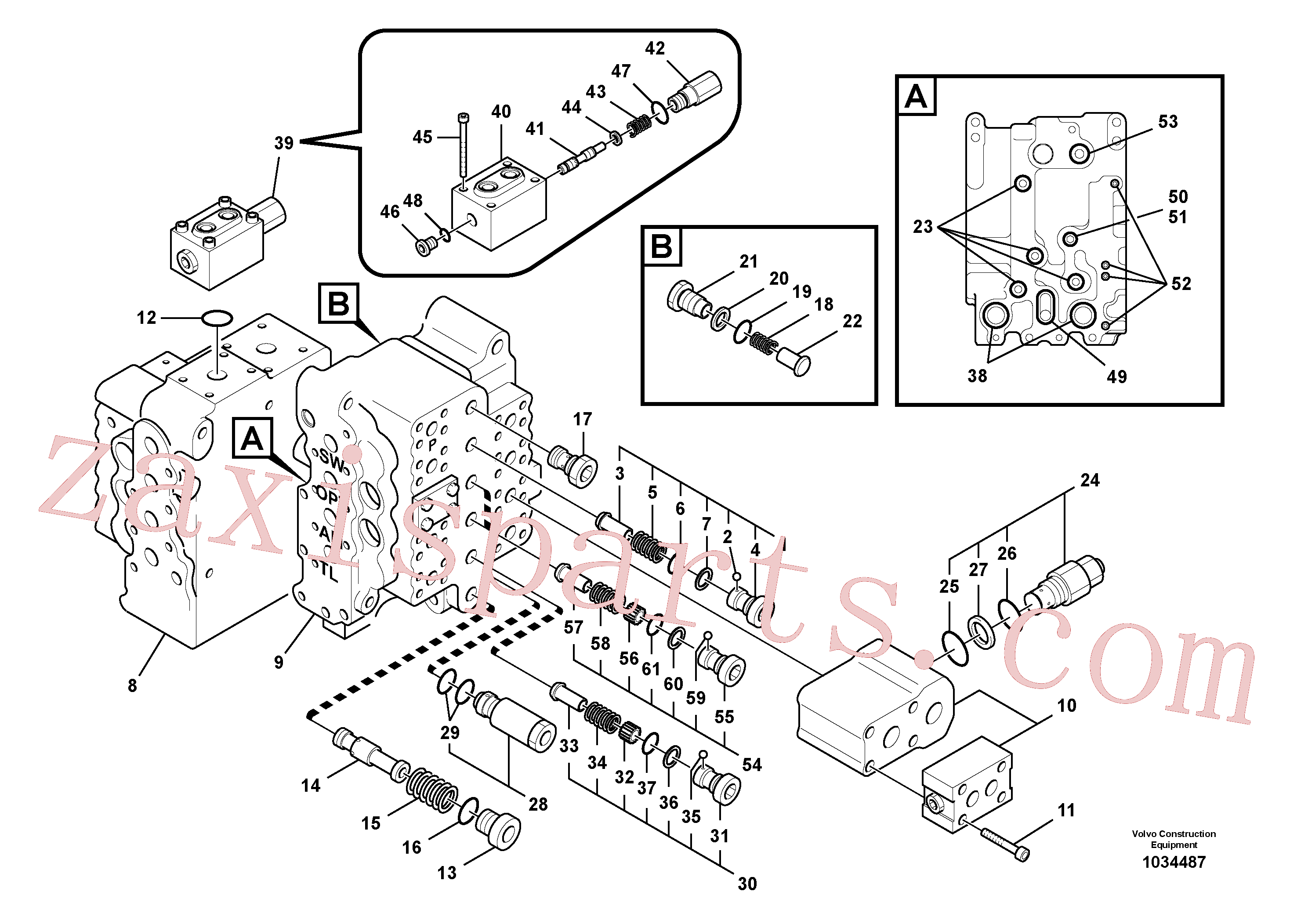SA7273-10350 for Volvo Main control valve, relief valve and dipper arm holding, Main control valve, swing and option and dipper arm and travel Lh(1034487 assembly)