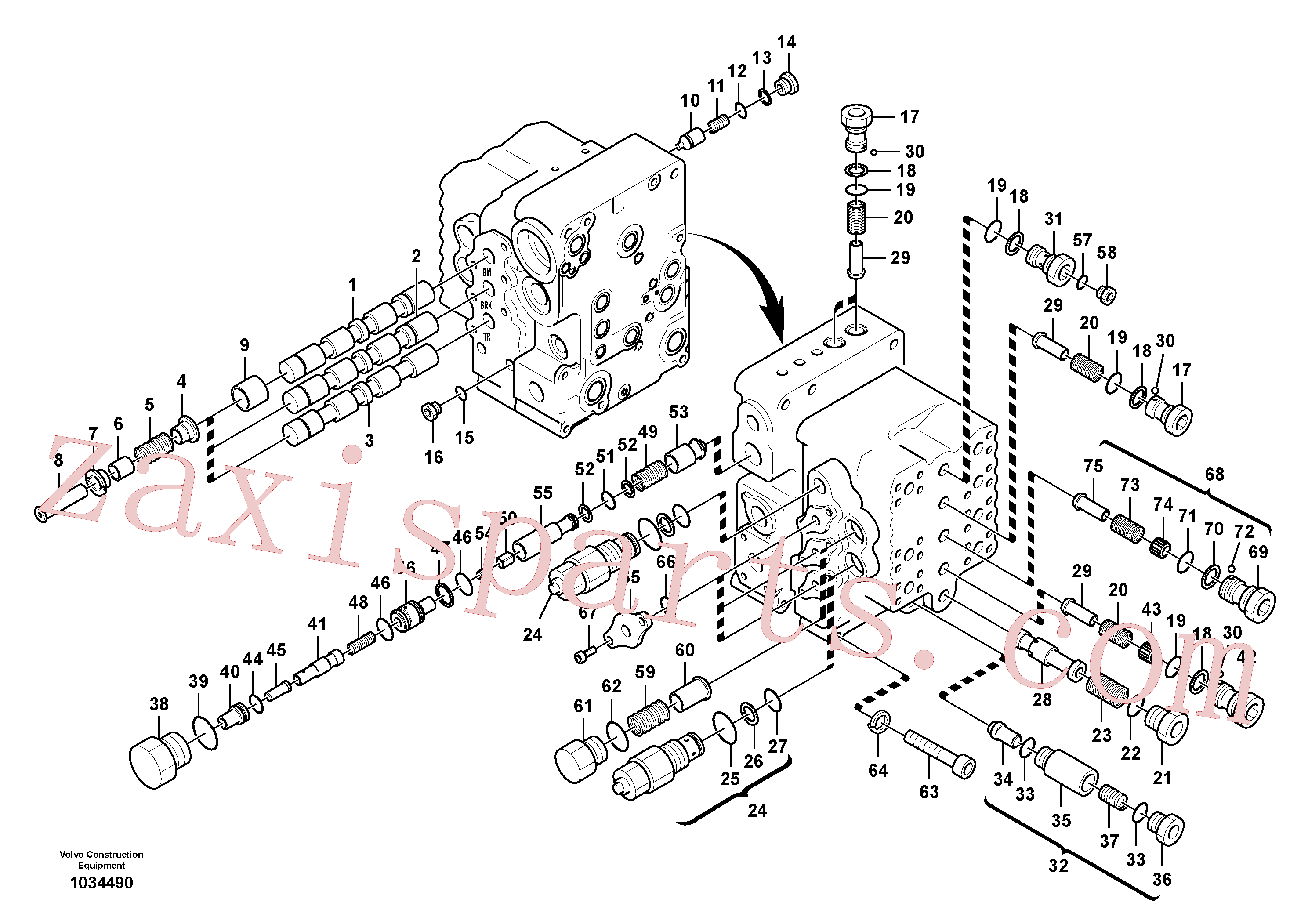 SA8230-12210 for Volvo Main control valve, boom and bucket and travel Rh(1034490 assembly)
