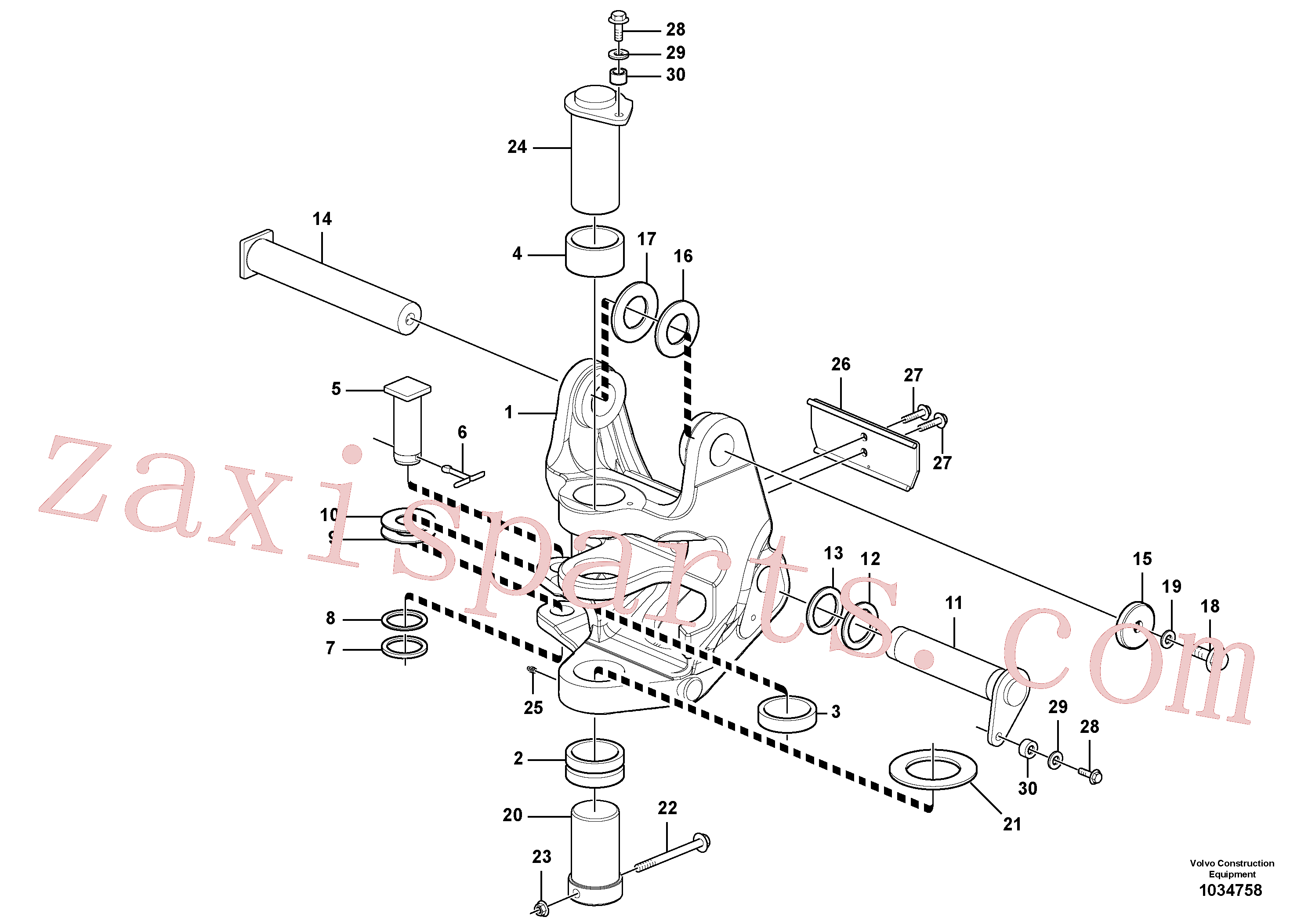VOE15611612 for Volvo Pivot pin(1034758 assembly)