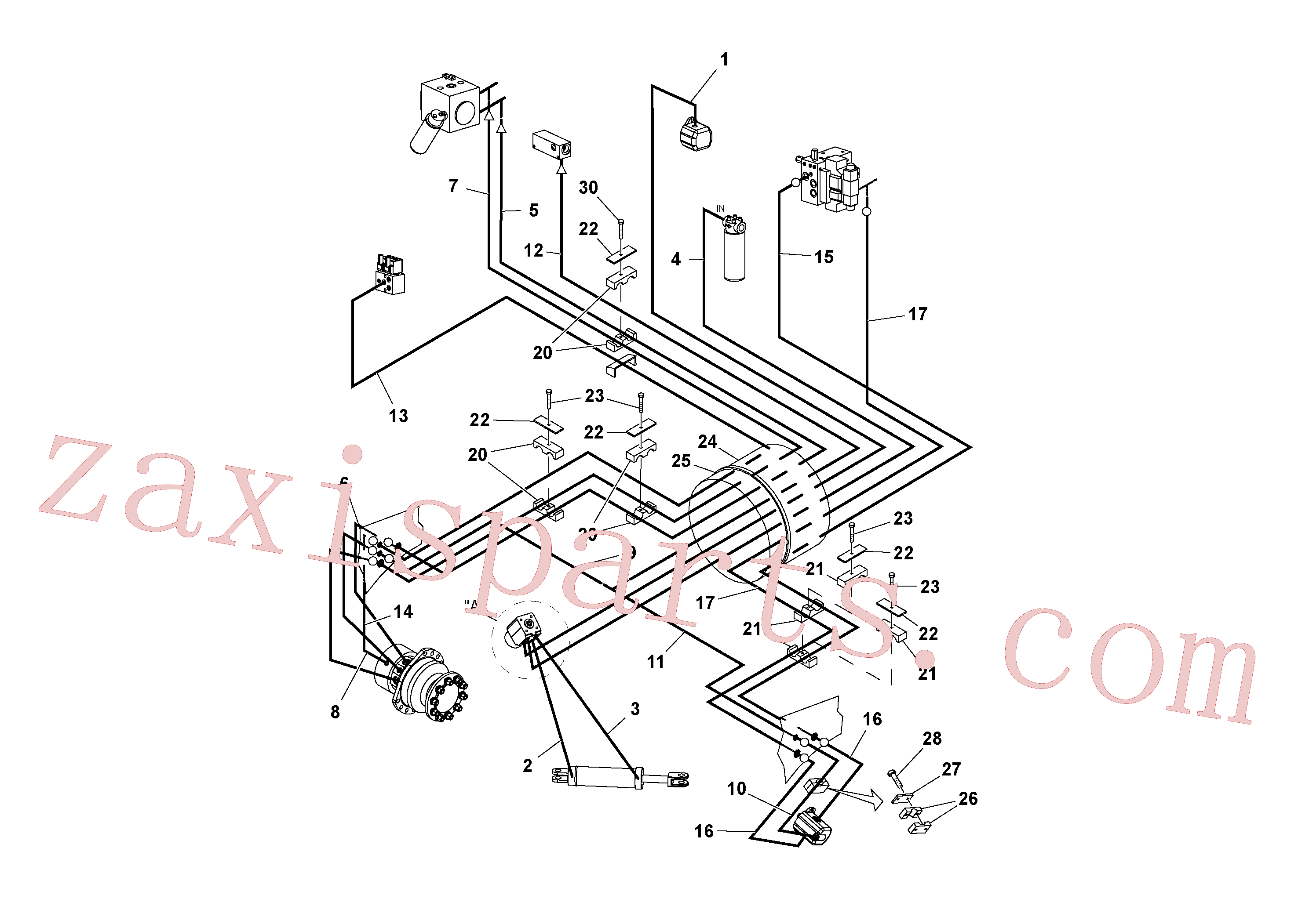 RM59151175 for Volvo Front Frame Hydraulic Hose Installation(1036597 assembly)